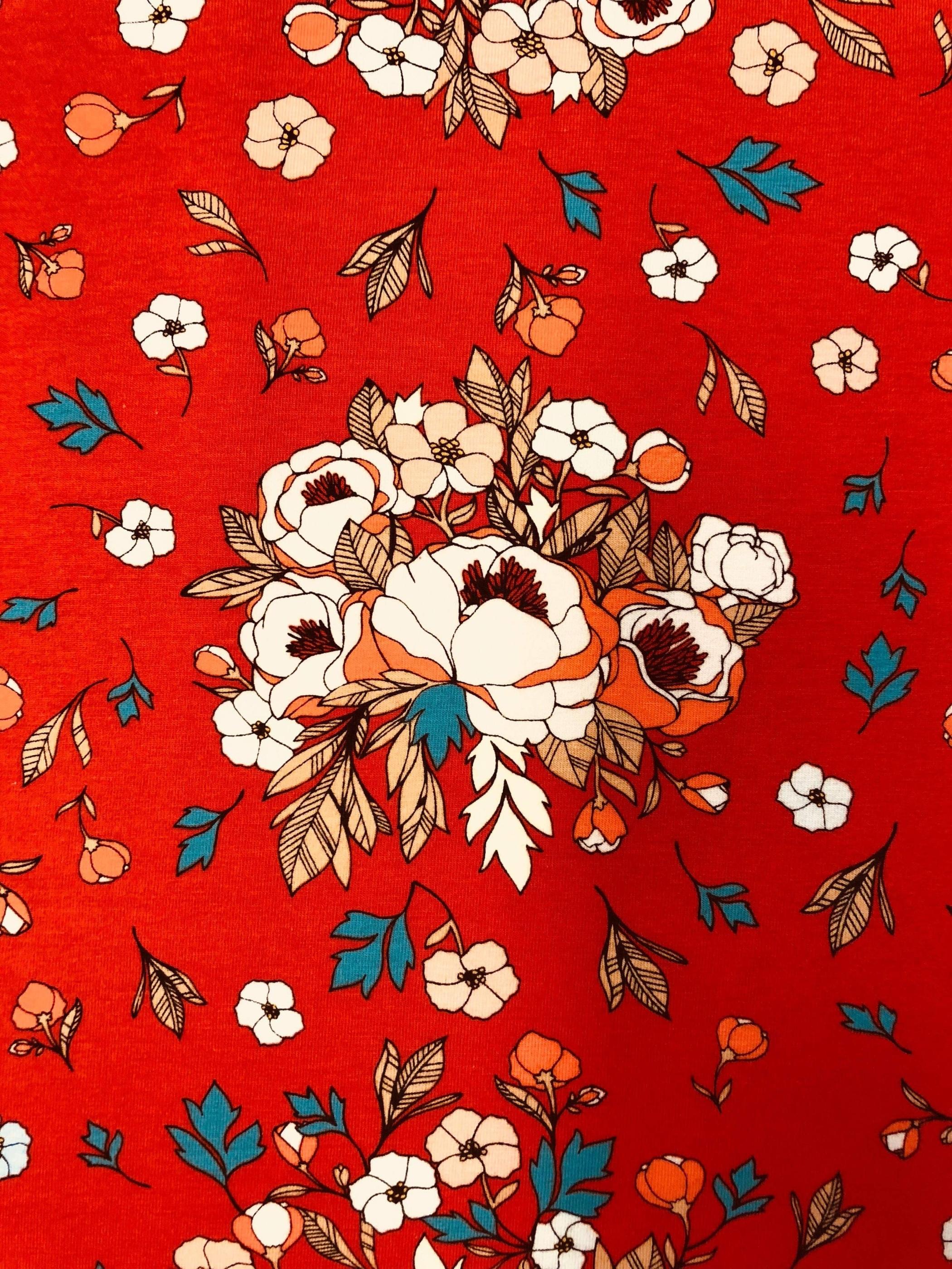 miss flower bomullstrikå bomull småmönstrad röd rödblommig blommig blomma metervara Tyglust Laholm
