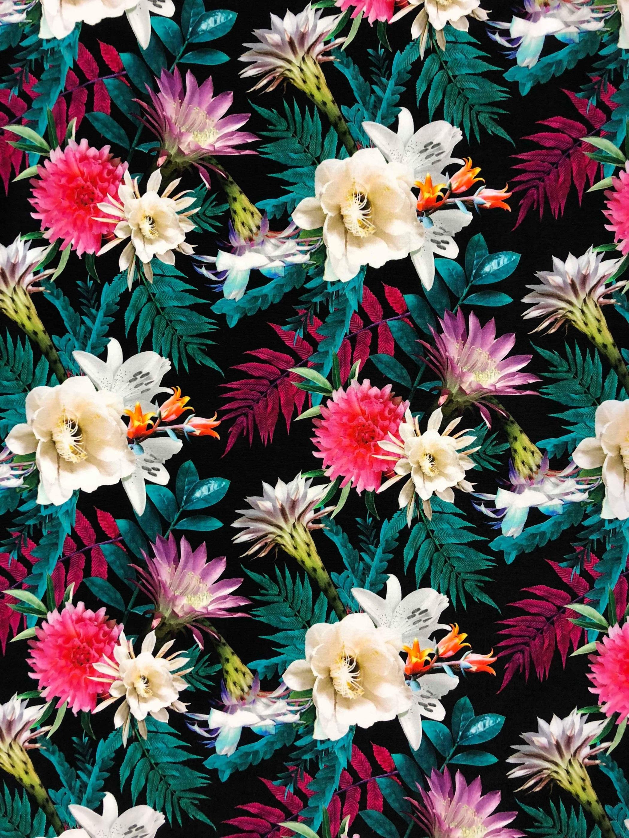 dahlia bukett blommor trikåtyg bomullstrikå bomull metervara Tyglust Laholm