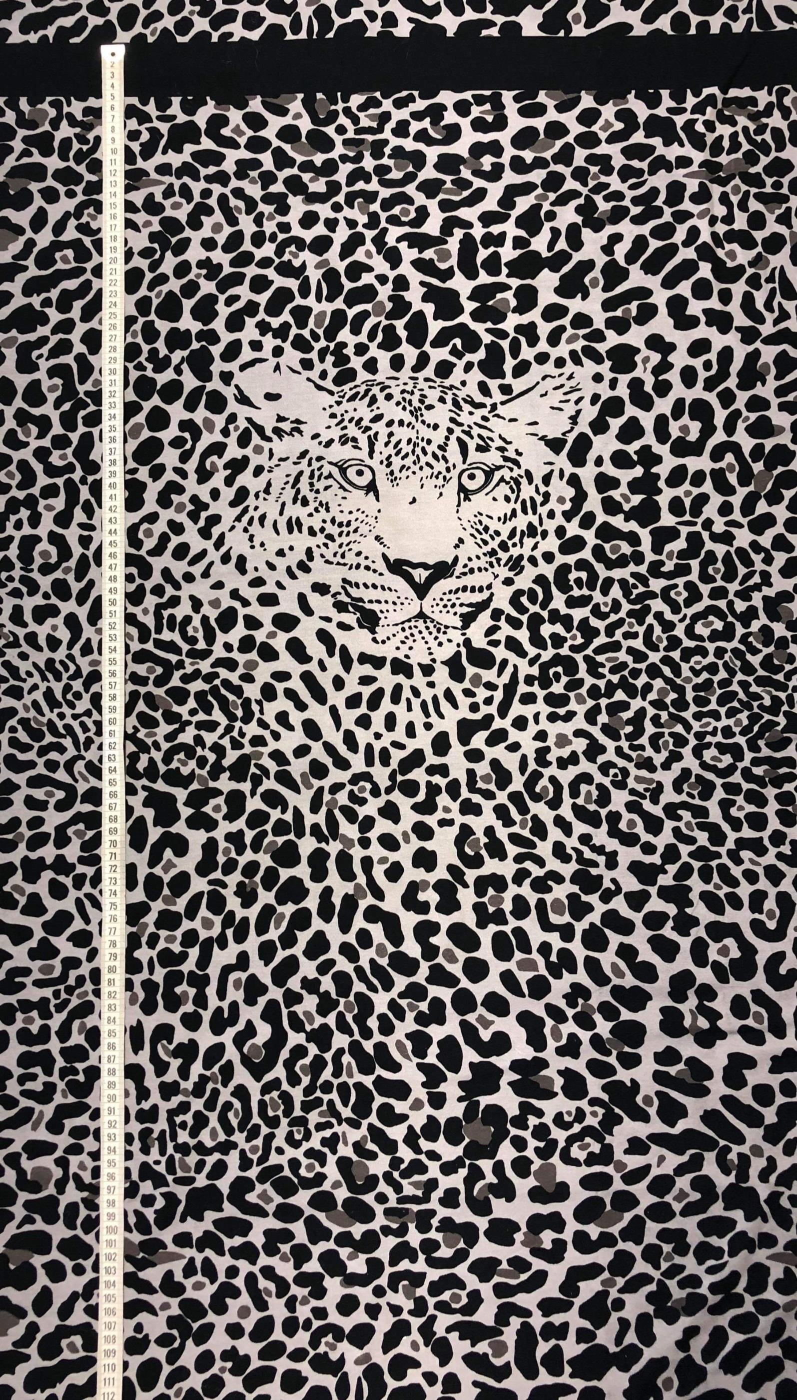 Leo rapport leopard bomull bomullstrikå metervara Tyglust Laholm