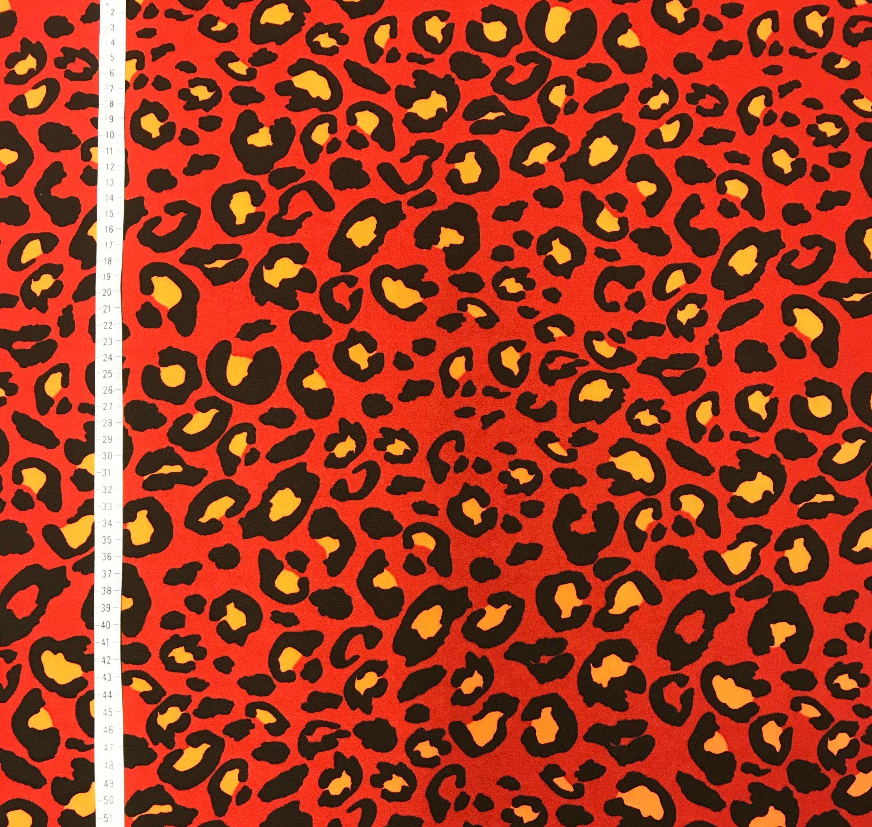 Leopard röd stretch mode metervara Tyglust
