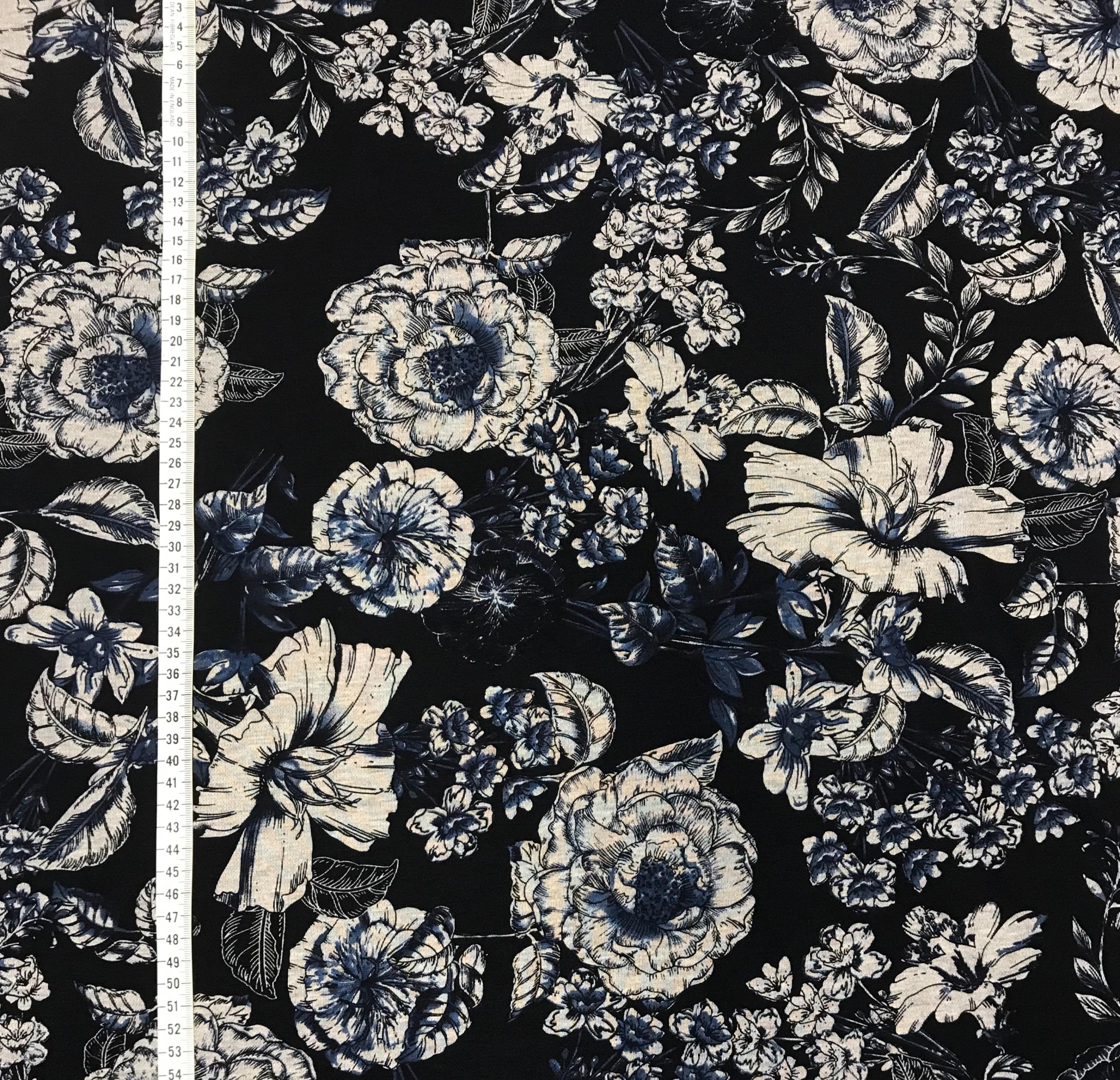 Porslinsblomma marinblå polyester viskos mode tyg metervara Tyglust