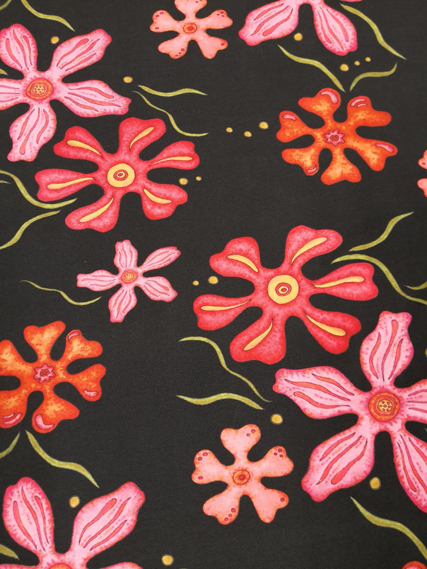 fantasi blomma bomullstrikå svart vy