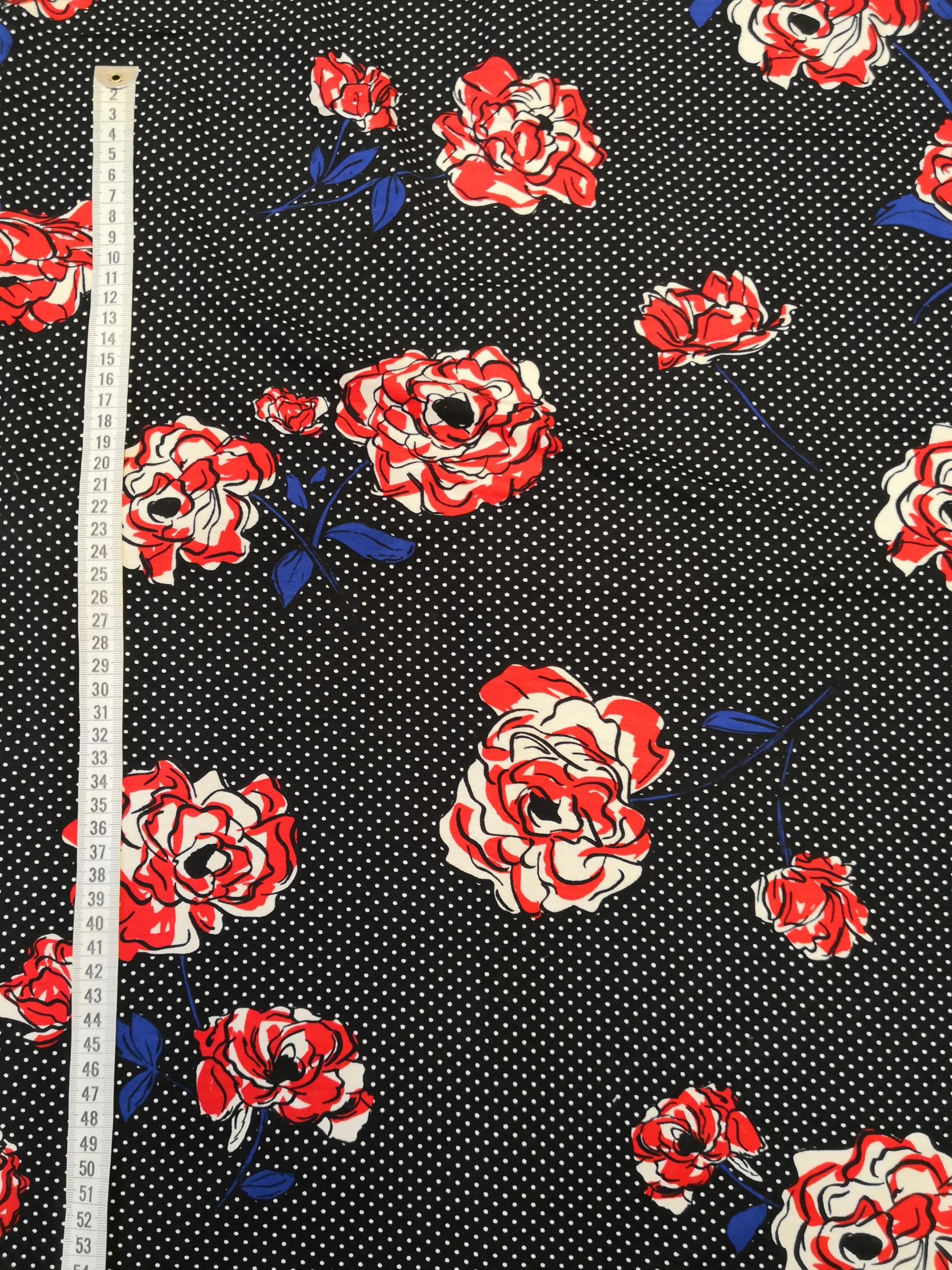 blommor på prickig botten, tyglust, tyg, trikå, mode, sy, sömnad, textil design, metervara, tygaffär