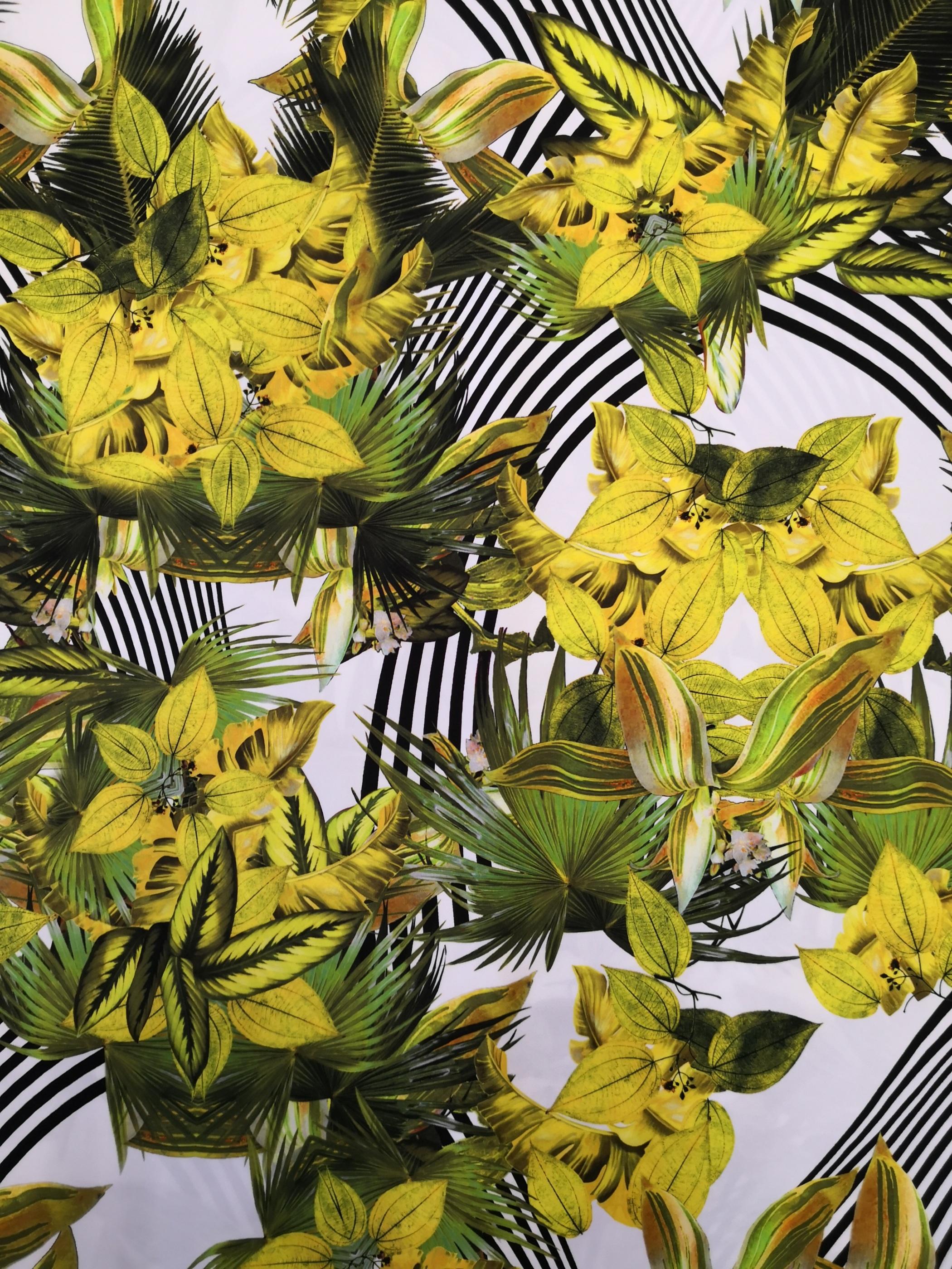 blommor och blad tyglust, tyg, trikå, mode, sy, sömnad, textil design, metervara, tygaffär