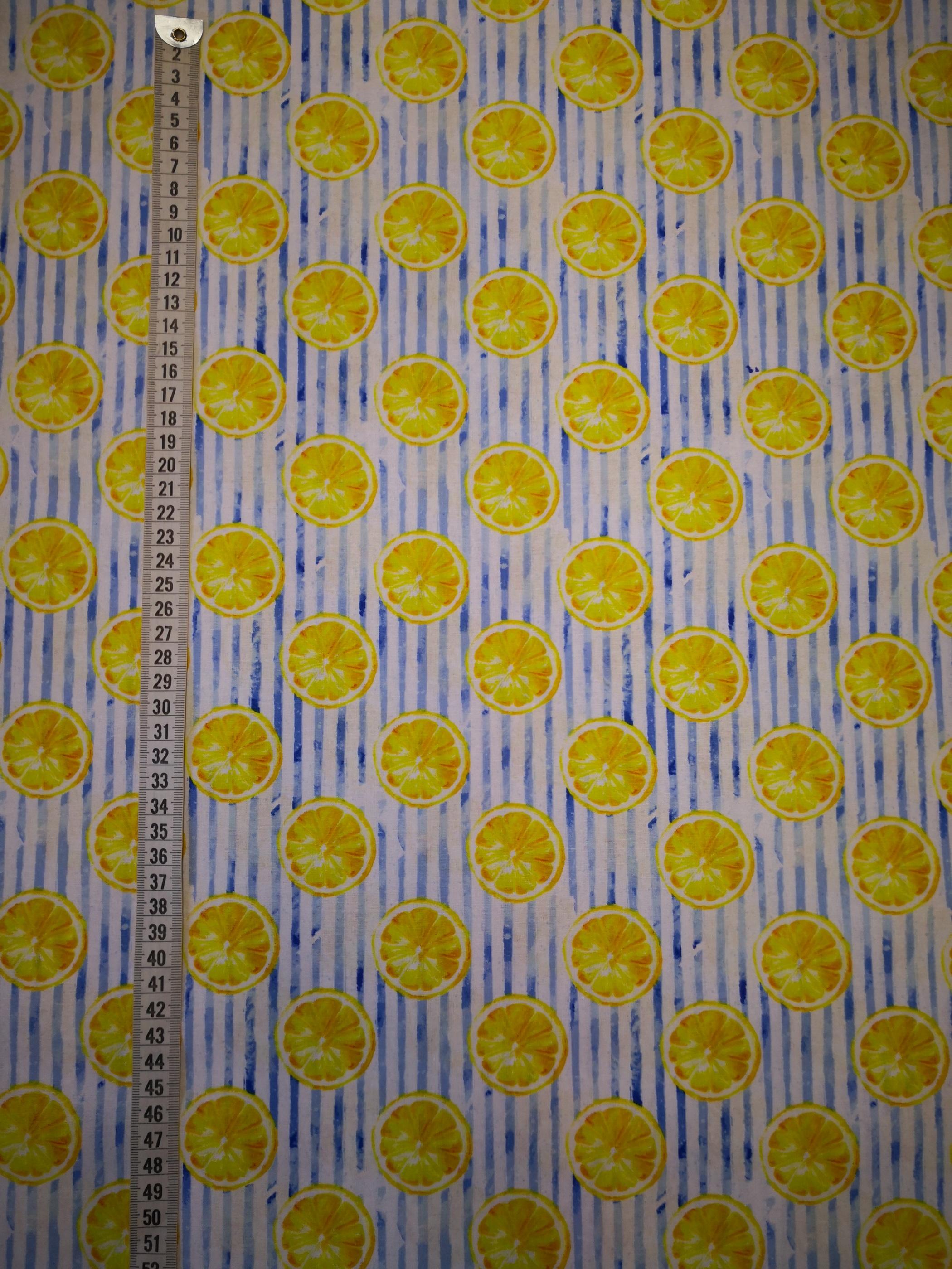 citroner, metervara, bomullstyg
