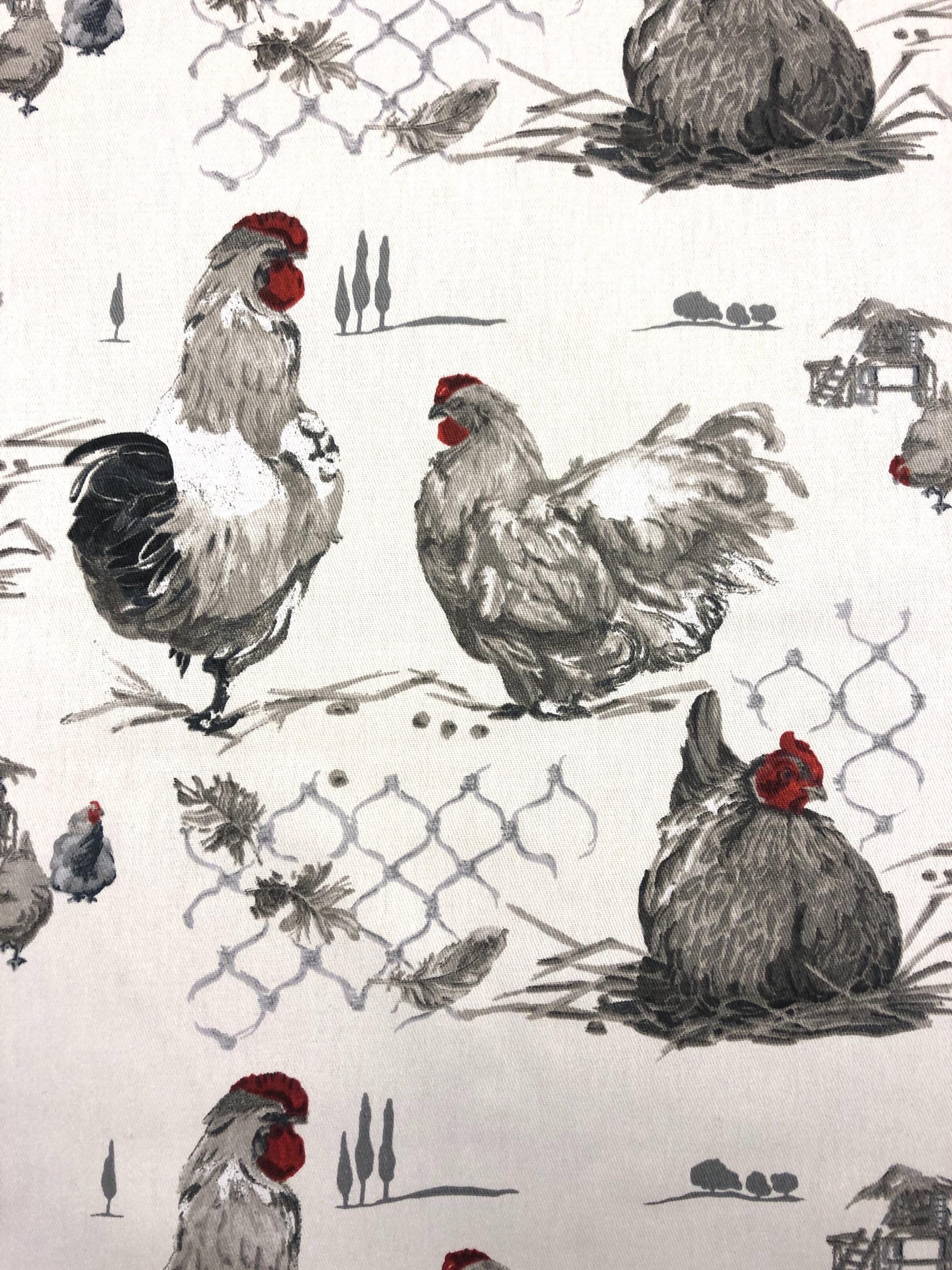 Hönor hönsgård hönsnät metervara vit röd grå hemtextil påsk bomull Tyglust laholm