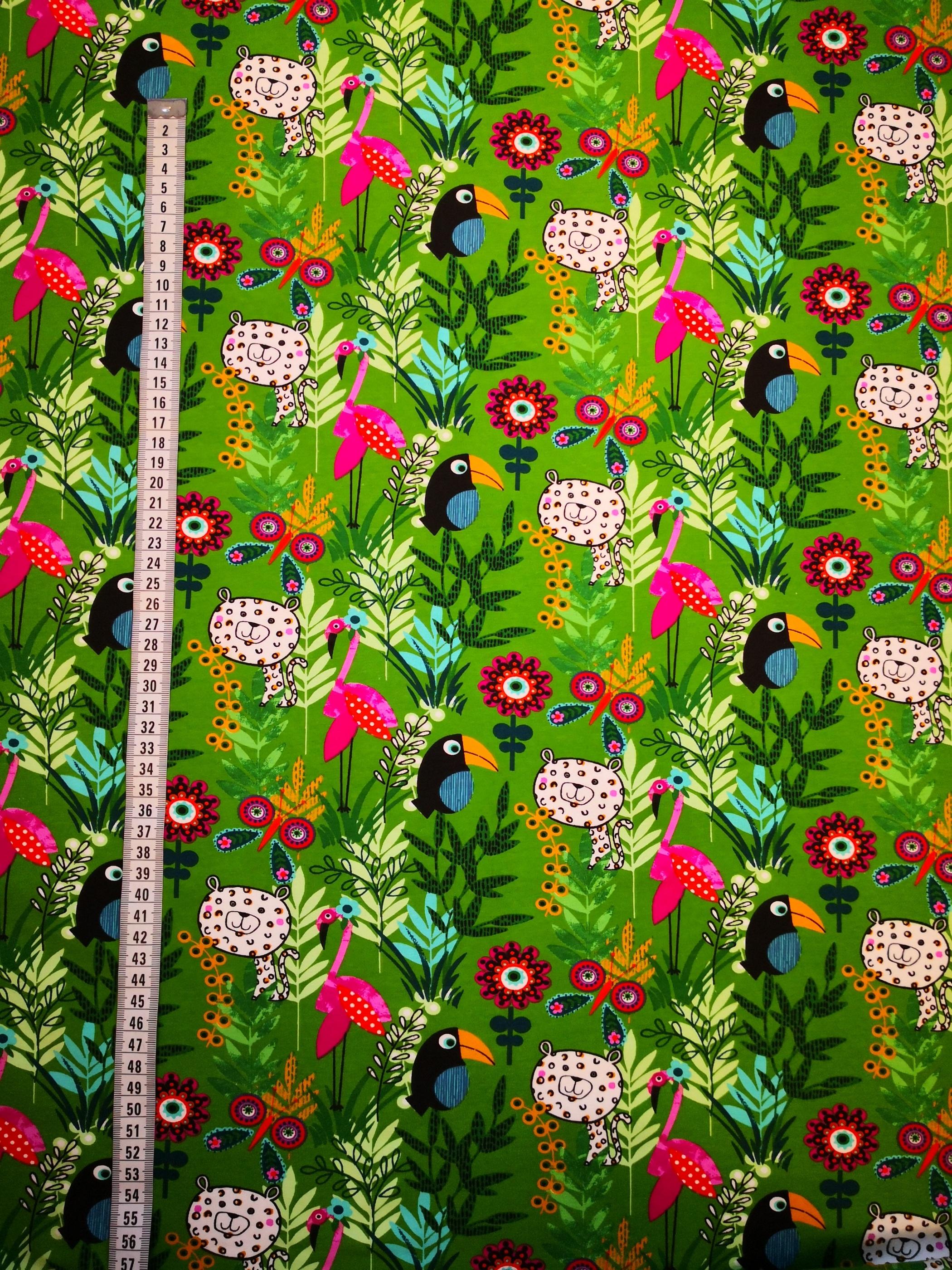 flamingos, metervara, tyg, tyglust, tygshop, fåglar, blommor