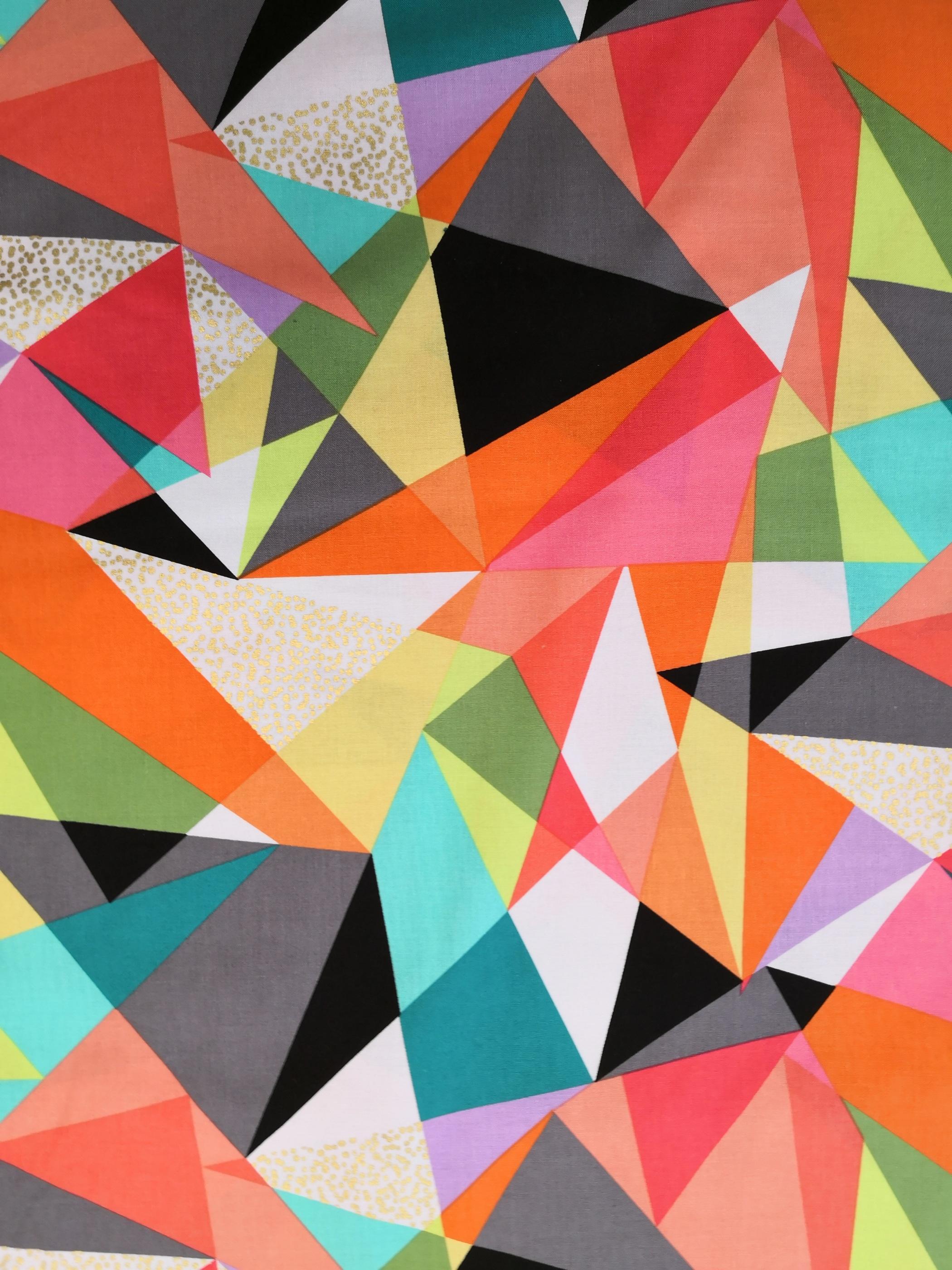Trekanter, metervara, tyg, tyglust, mönster, form, färger
