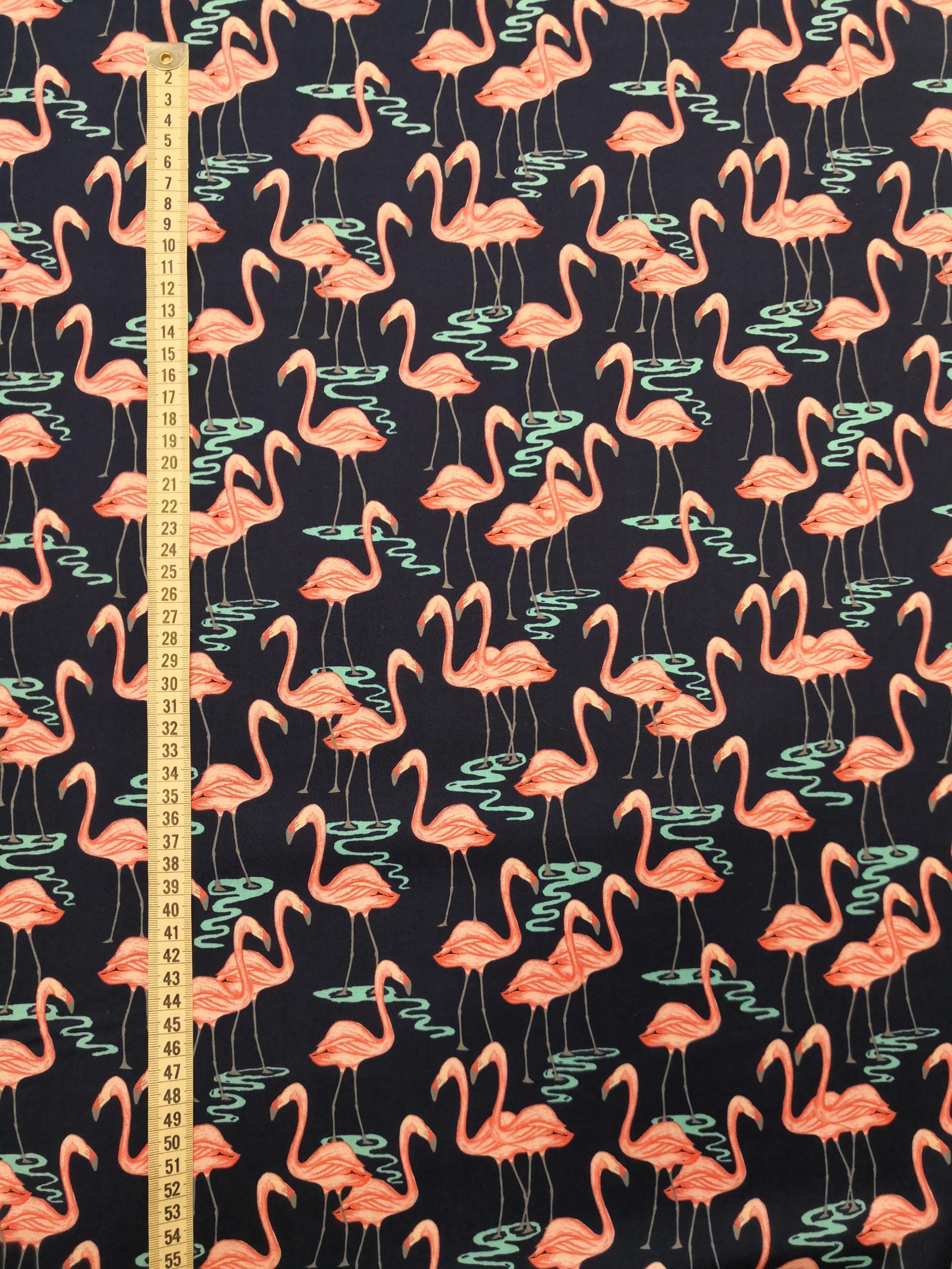 Flamingos vadar, tyg, metervara, tyglust, glamingo, marin