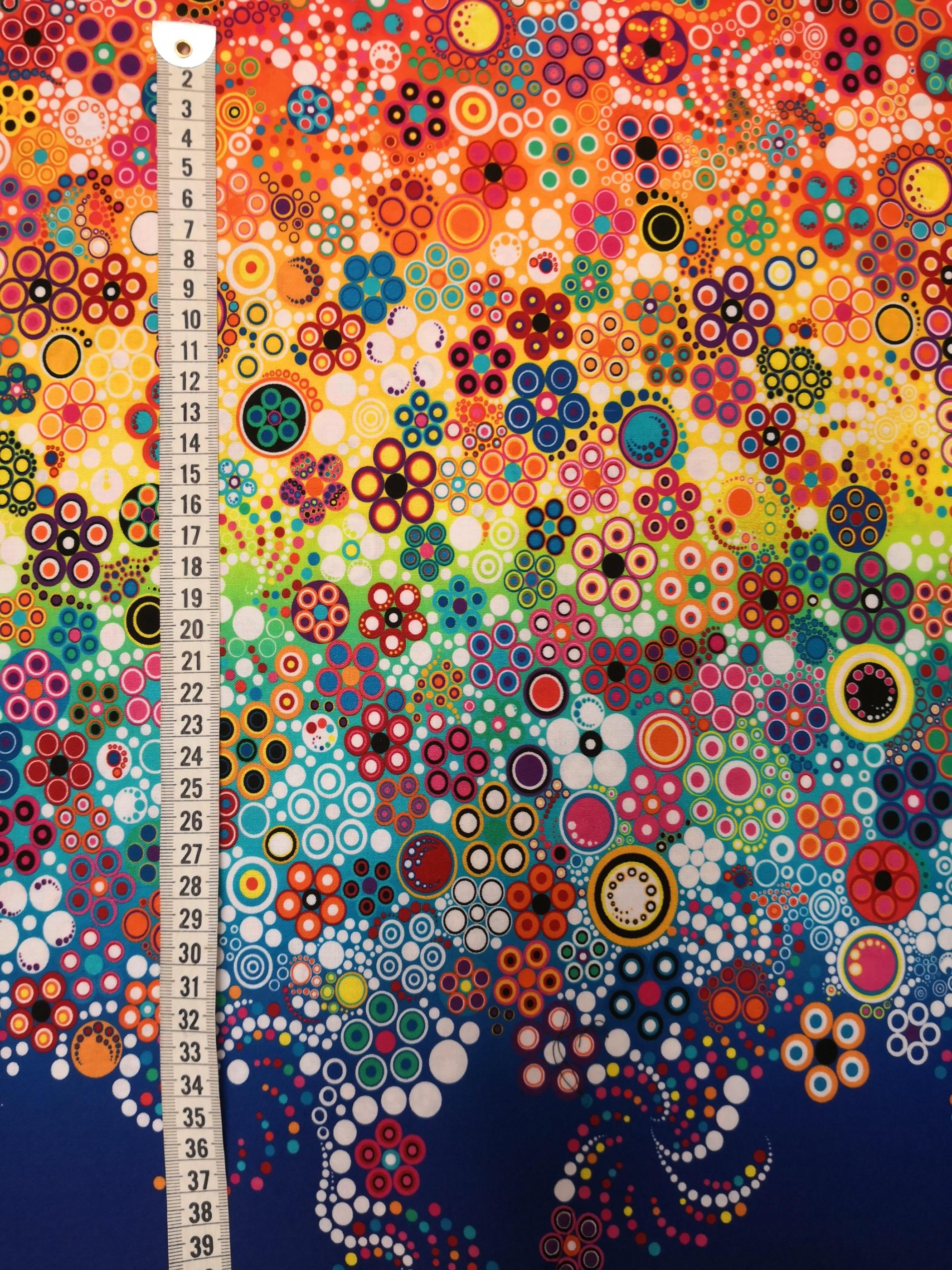 cirklar på marin botten, tyg, metervara, tyglust, cirkel, färger