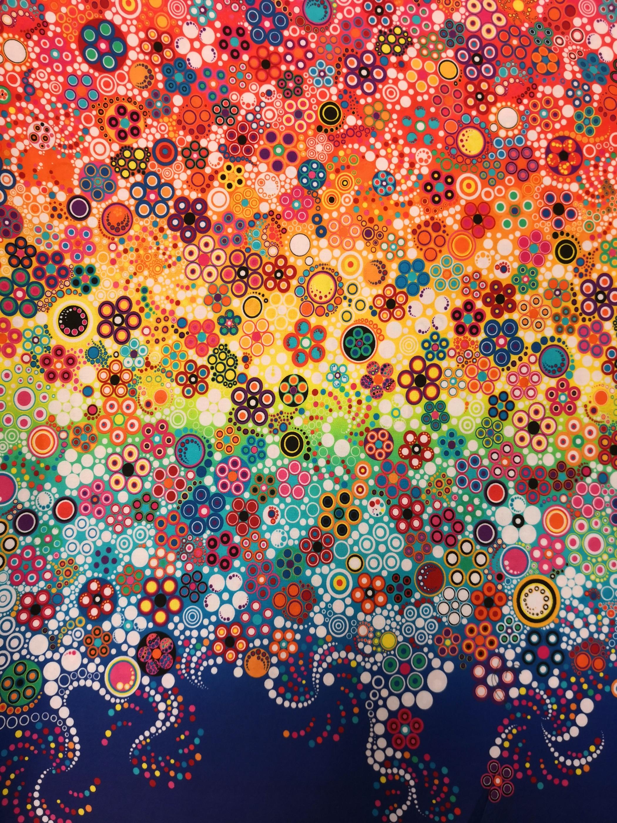 Cirklar på marin botten, , tyg, metervara, tyglust, cirkel, färger
