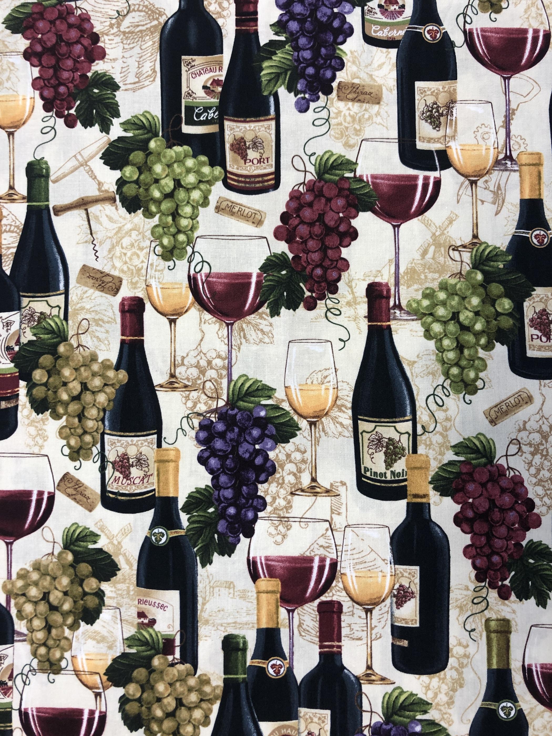 vin vinflaskor vindruvor bomullstyg metervara Tyglust Laholm