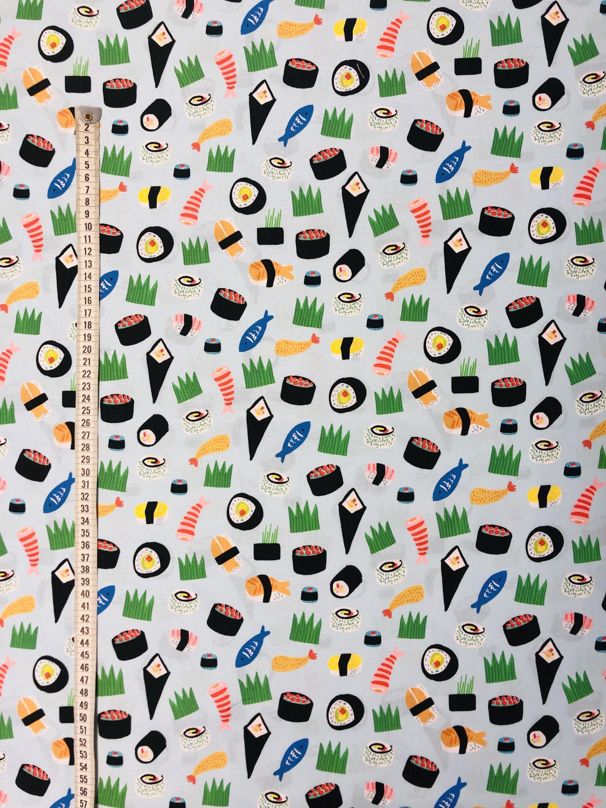Sushi bomull blå ljusblå metervara tyg modetyger Laholm Tyglust