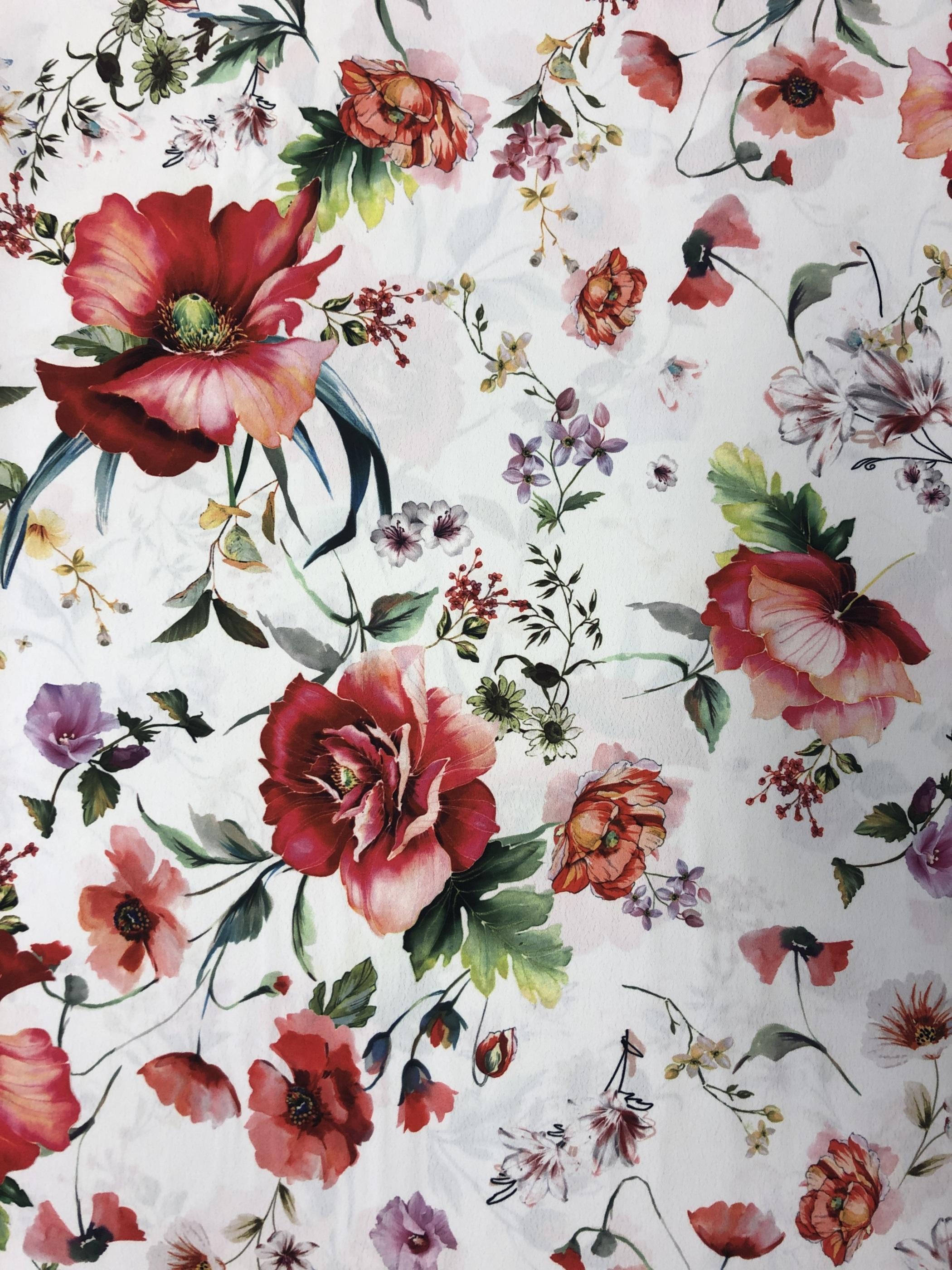 Sommarplock sommarblommor blommor metervara tyg vit klänning kjol blus Tyglust Laholm