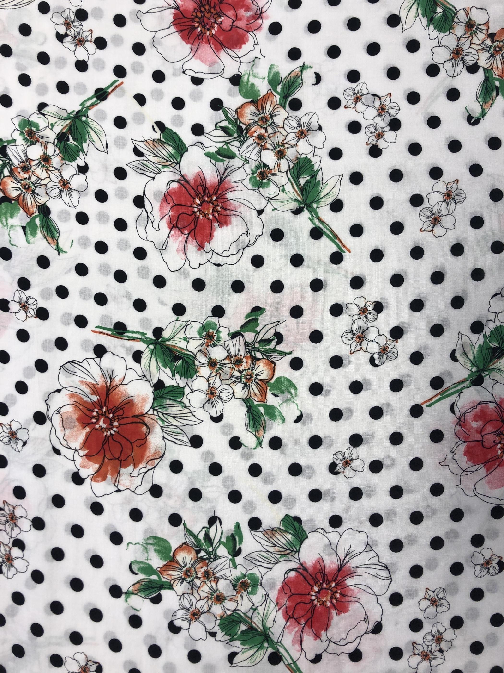 Blommigt blommor prickigt prick vit viskos modetyg metervara Laholm Tyglust