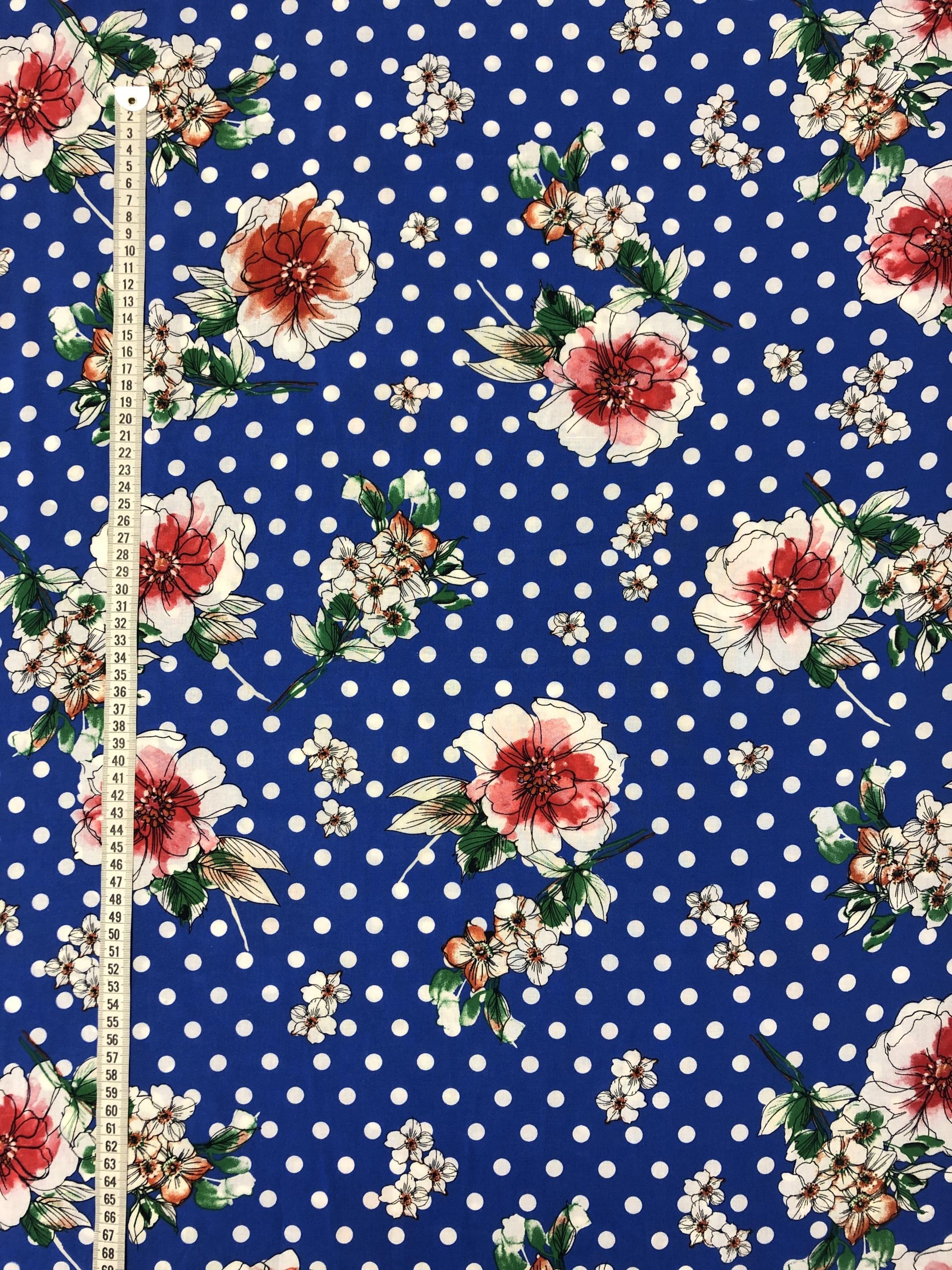 Blommigt blommor prickigt prick blå viskos modetyg metervara Laholm Tyglust