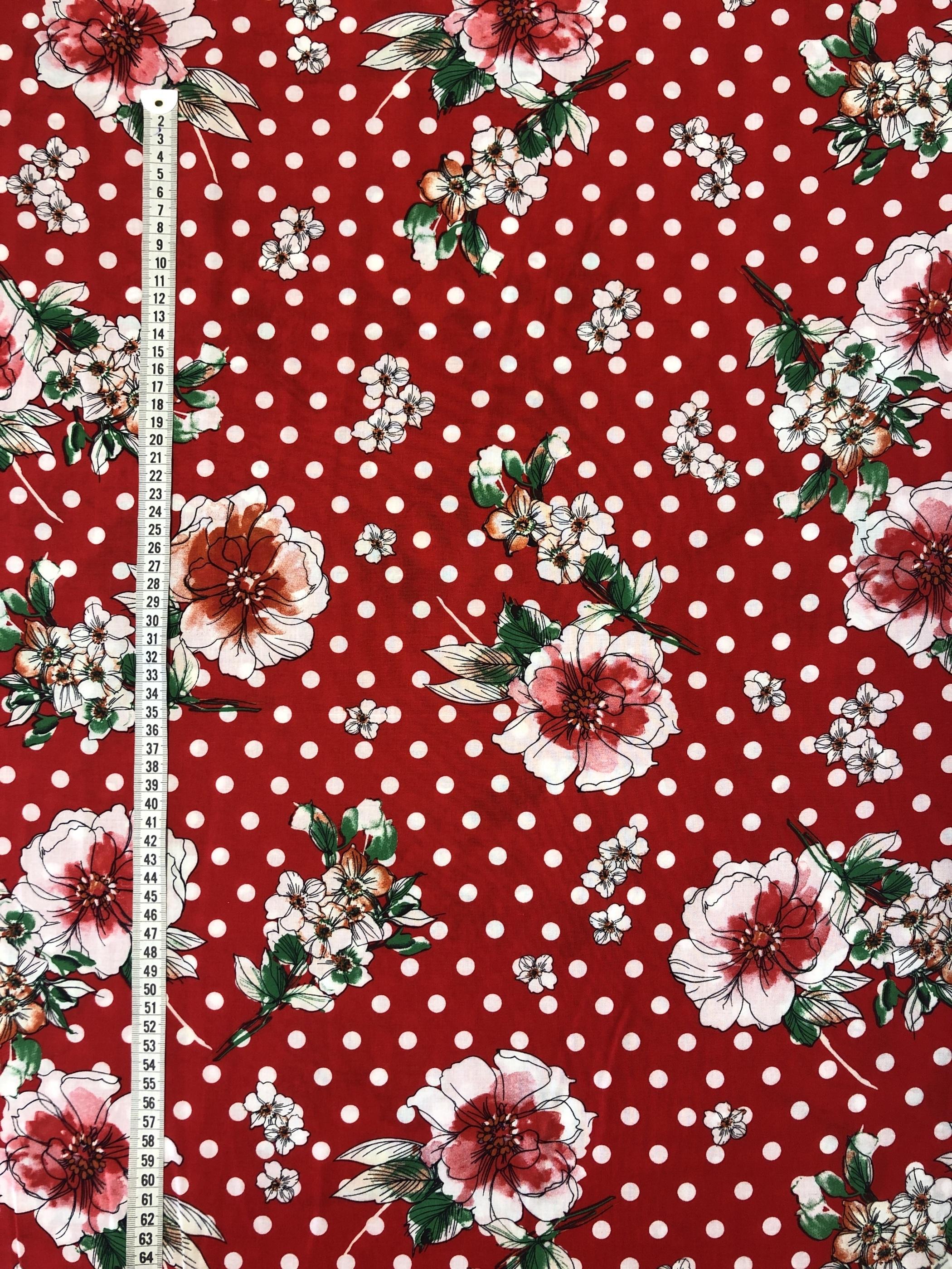 Blommigt blommor prickigt prick röd britt viskos modetyg metervara Laholm Tyglust