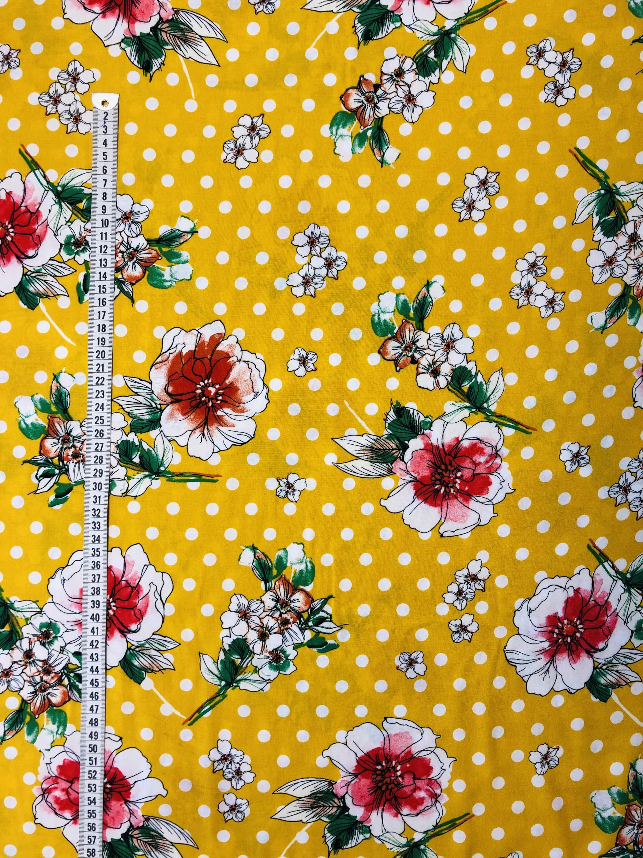 Blommigt blommor prickigt prick gul britt viskos modetyg