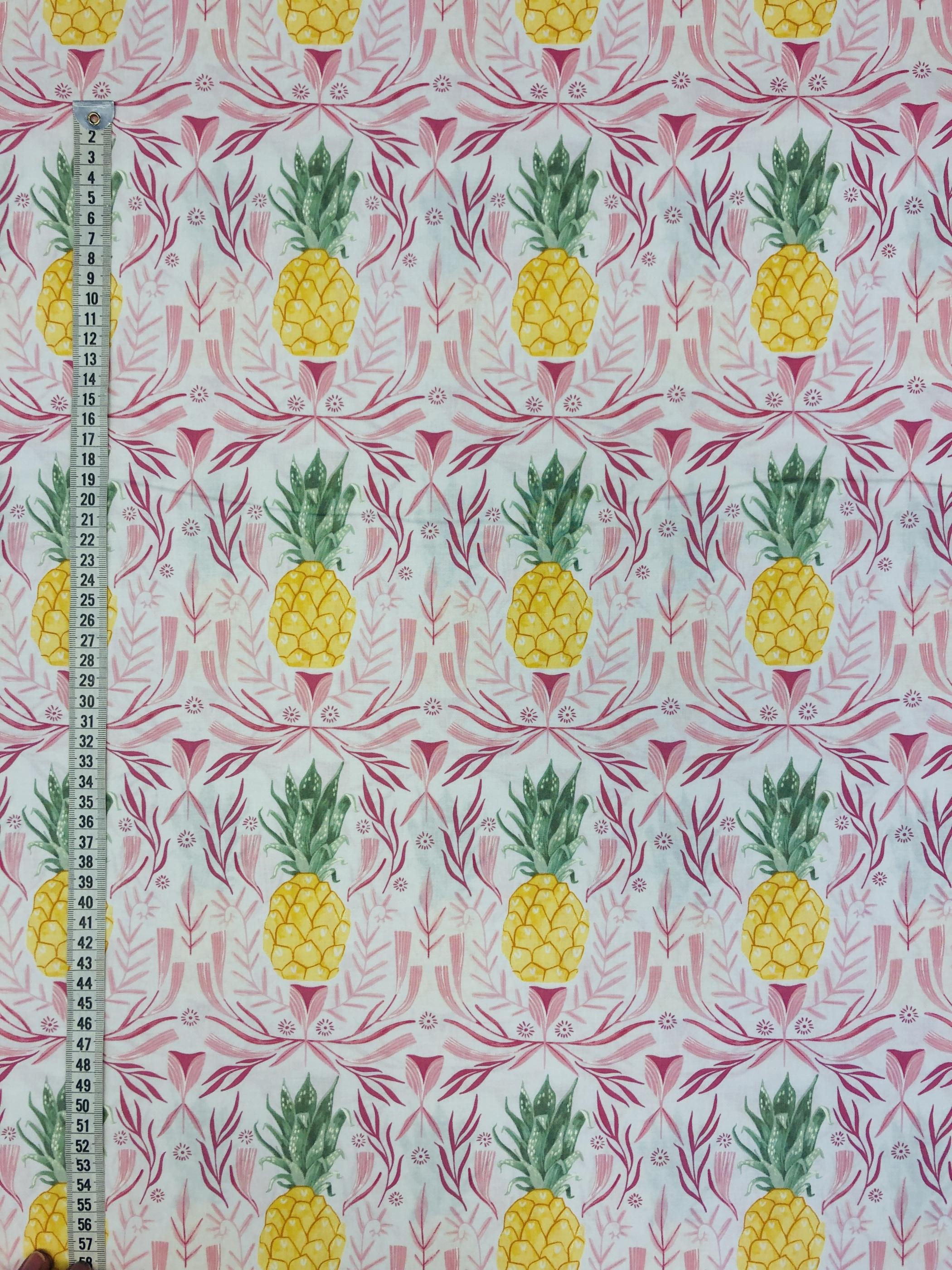 Ananas pineapple rosa bomullstyg metervara modetyg Laholm Tyglust