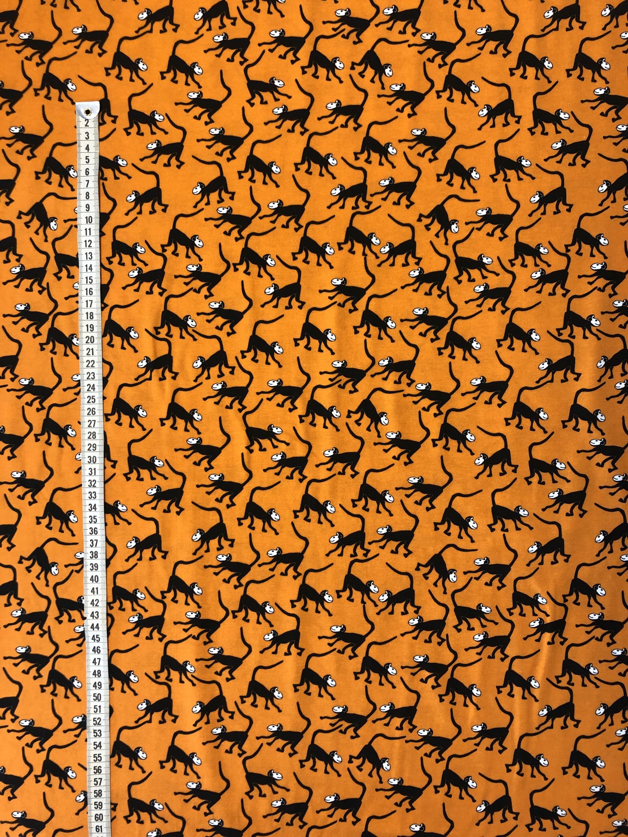 orange apa apor bomullstrikå Jersey barntyg modetyg metervara tyg Tyglust Laholm