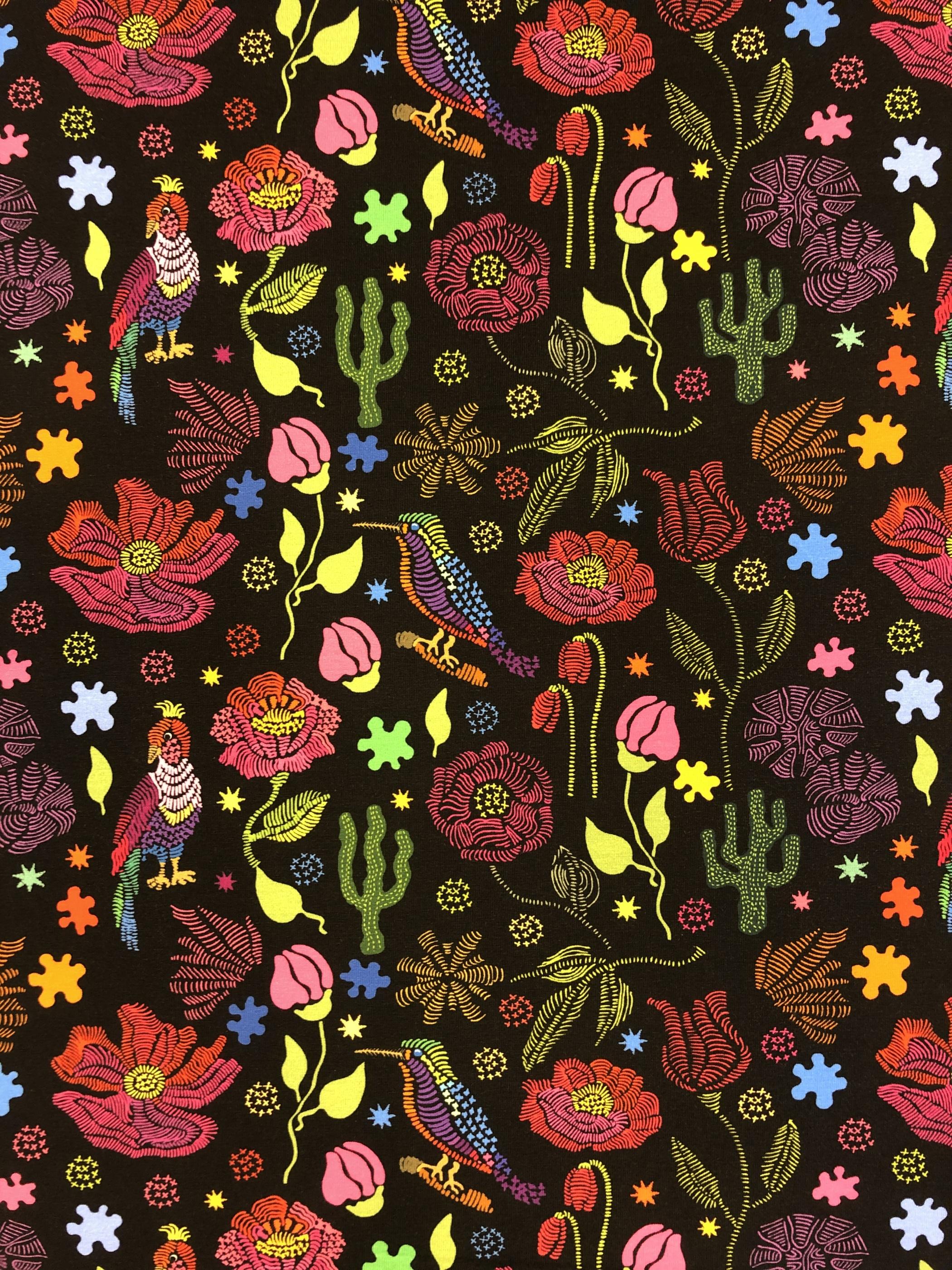 Kaktus tex fåglar fågel blommor svart färgglatt bomullstrikå metervara tyg Tyglust Laholm