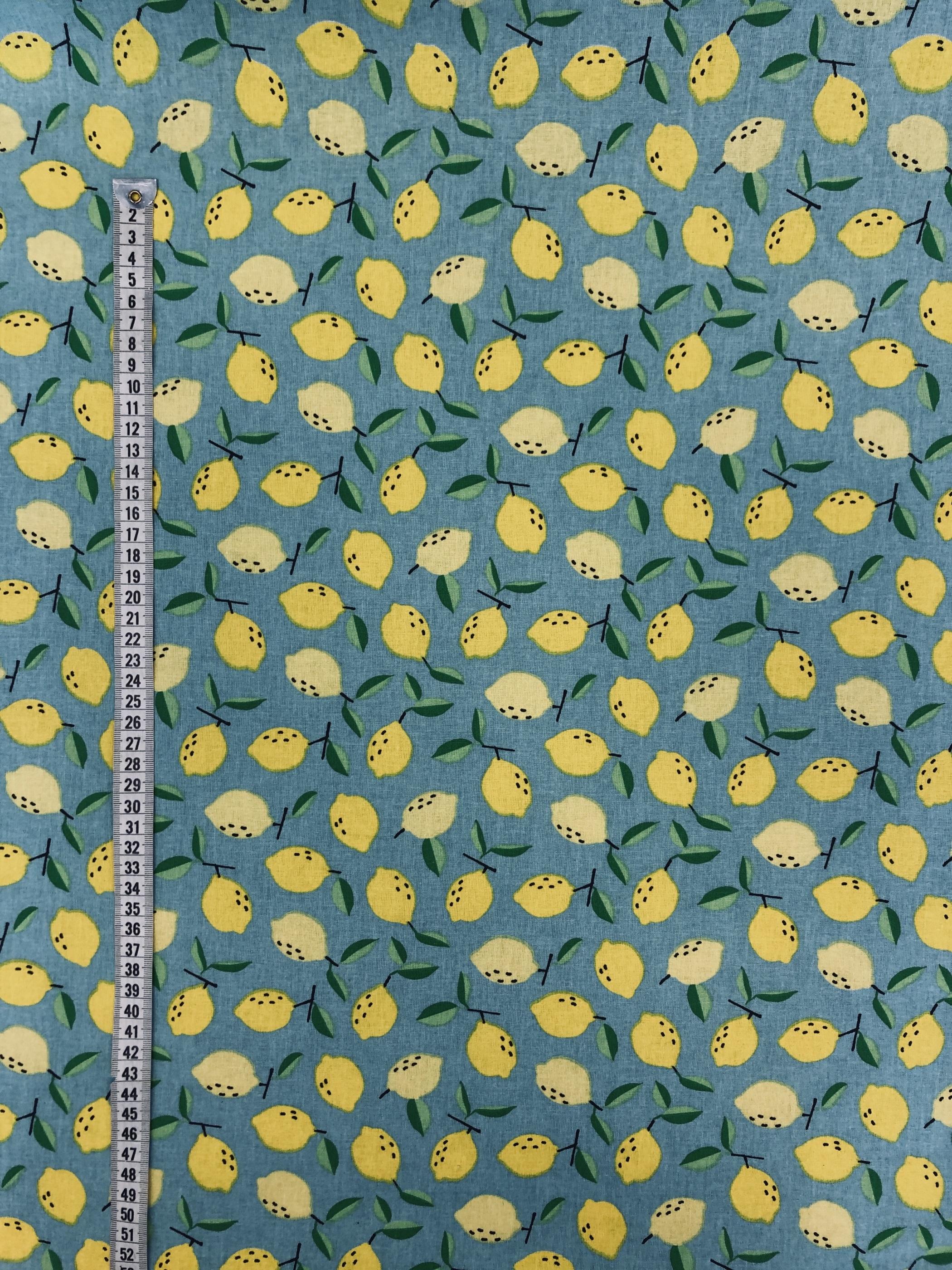citroner blå gul modetyg hemtextil metervara Tyglust laholm