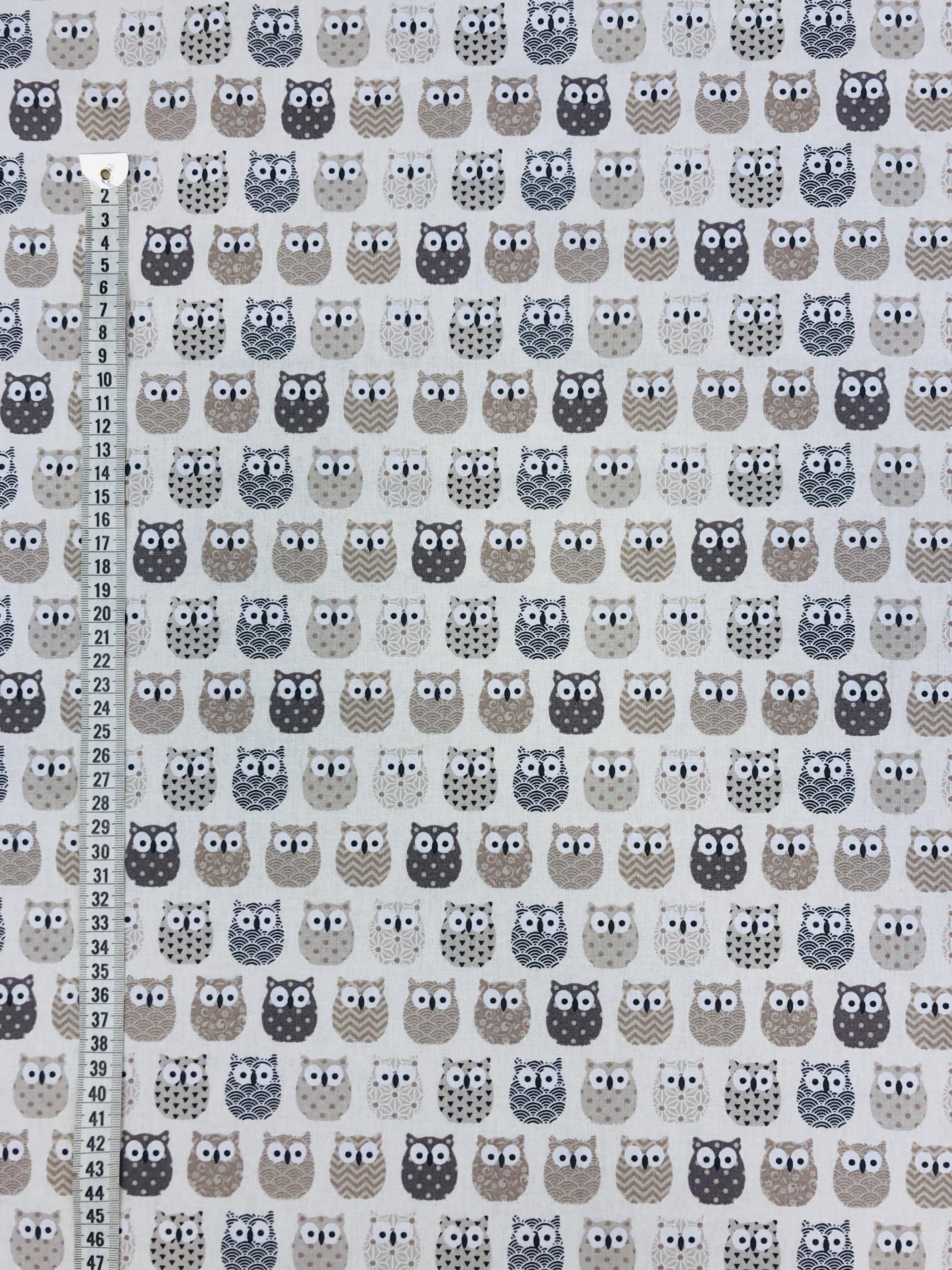 ugglor beige grå vit svart barntyg metervara hemtextil tyg Tyglust Laholm bomull