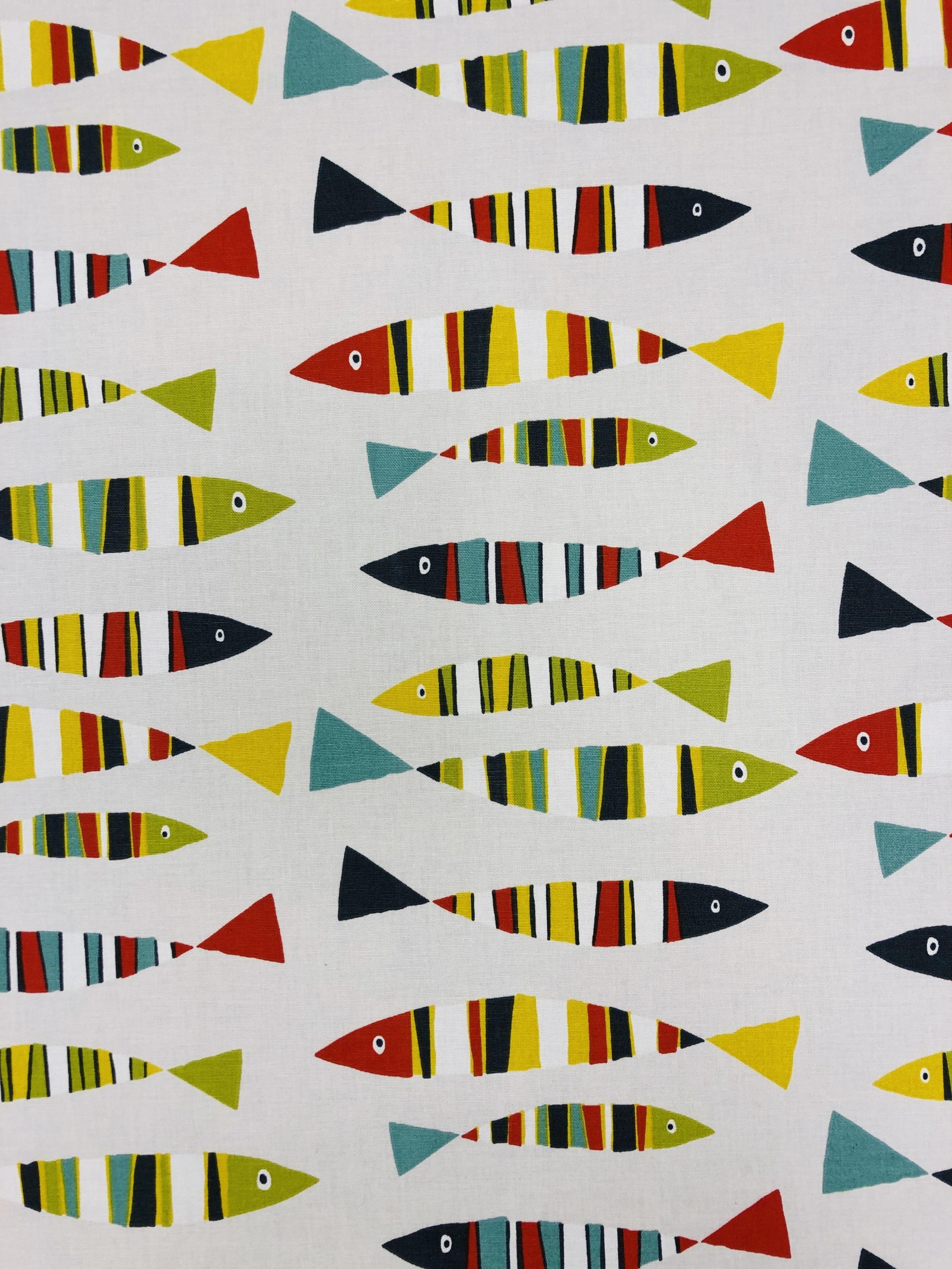 Fiskar rad gul grön röd blå metervara hemtextil tyg Tyglust Laholm