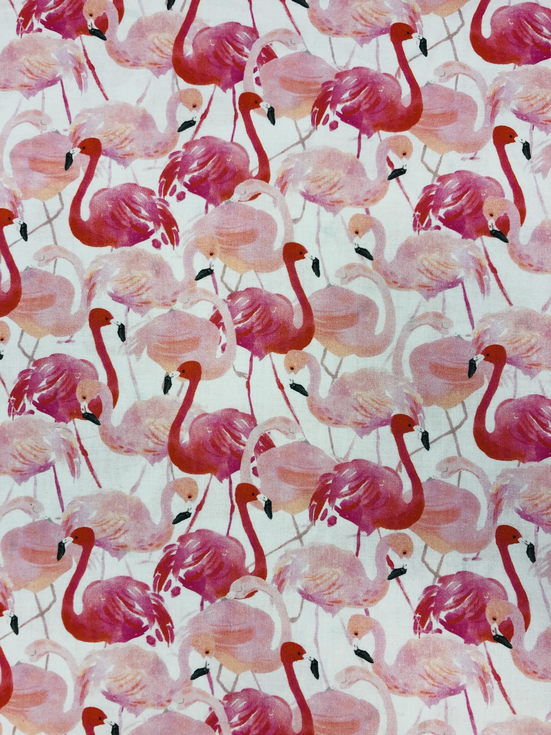 Rosa cerise vit flamingo bomull barntyg modetyg metervara Tyglust Laholm