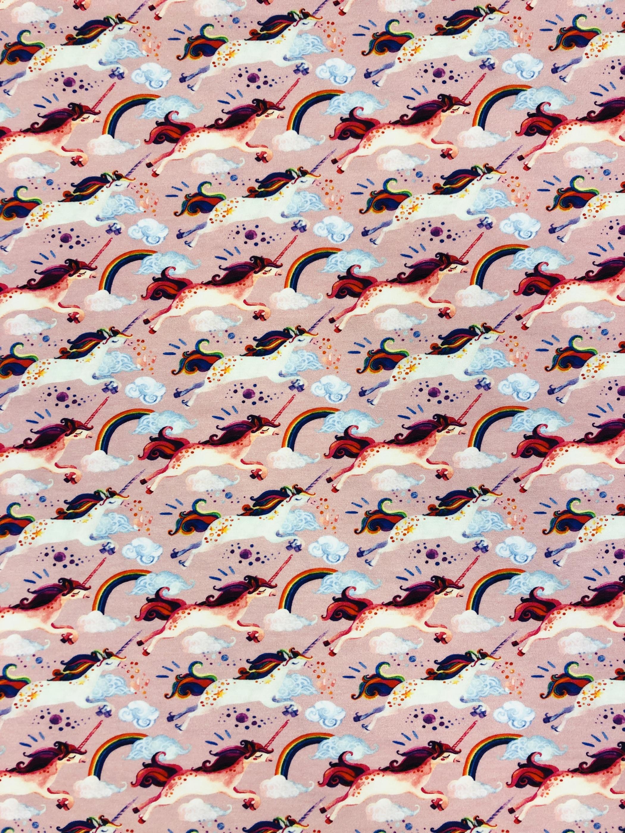 Rosa pastell enhörning unicorn regnbåge Modetyg trikå metervara bomull Tyglust laholm