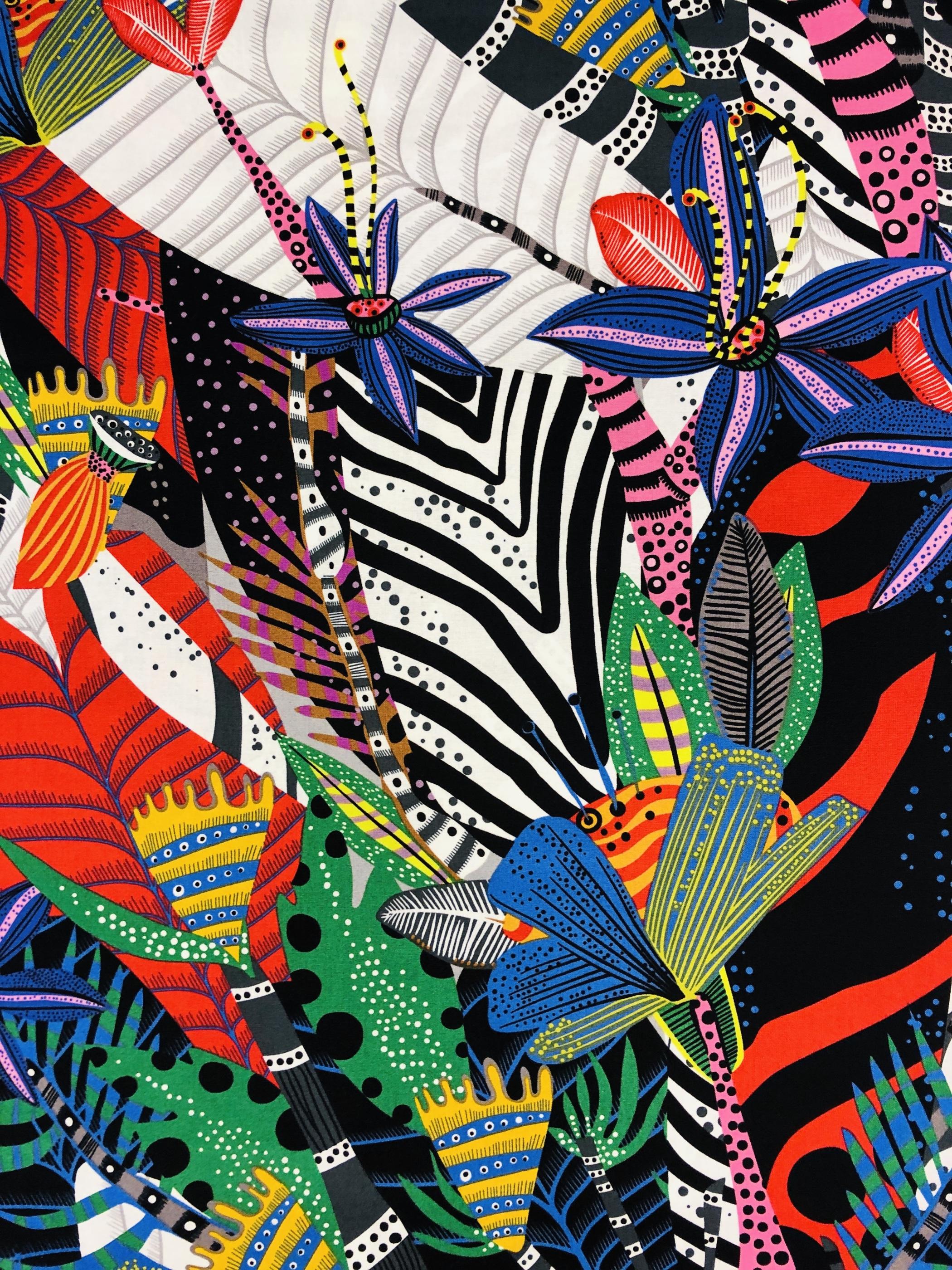 Paradisnatt paradis växt färg färgglatt lila röd svart vit grön gul metervara modetyg hemtextil Tyglust laholm