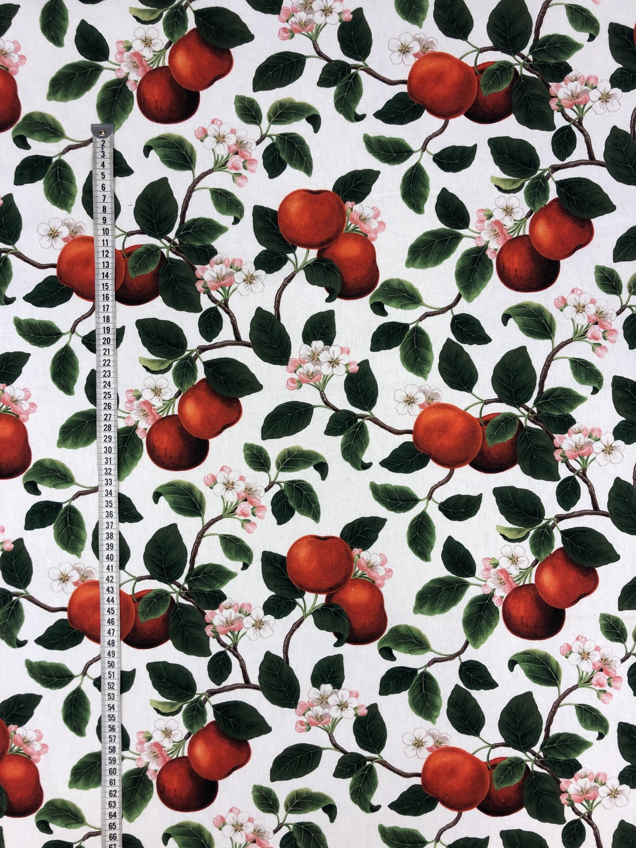äppel äppelkvistar bomull röd grön vit metervara Tyglust Laholm hemtextil