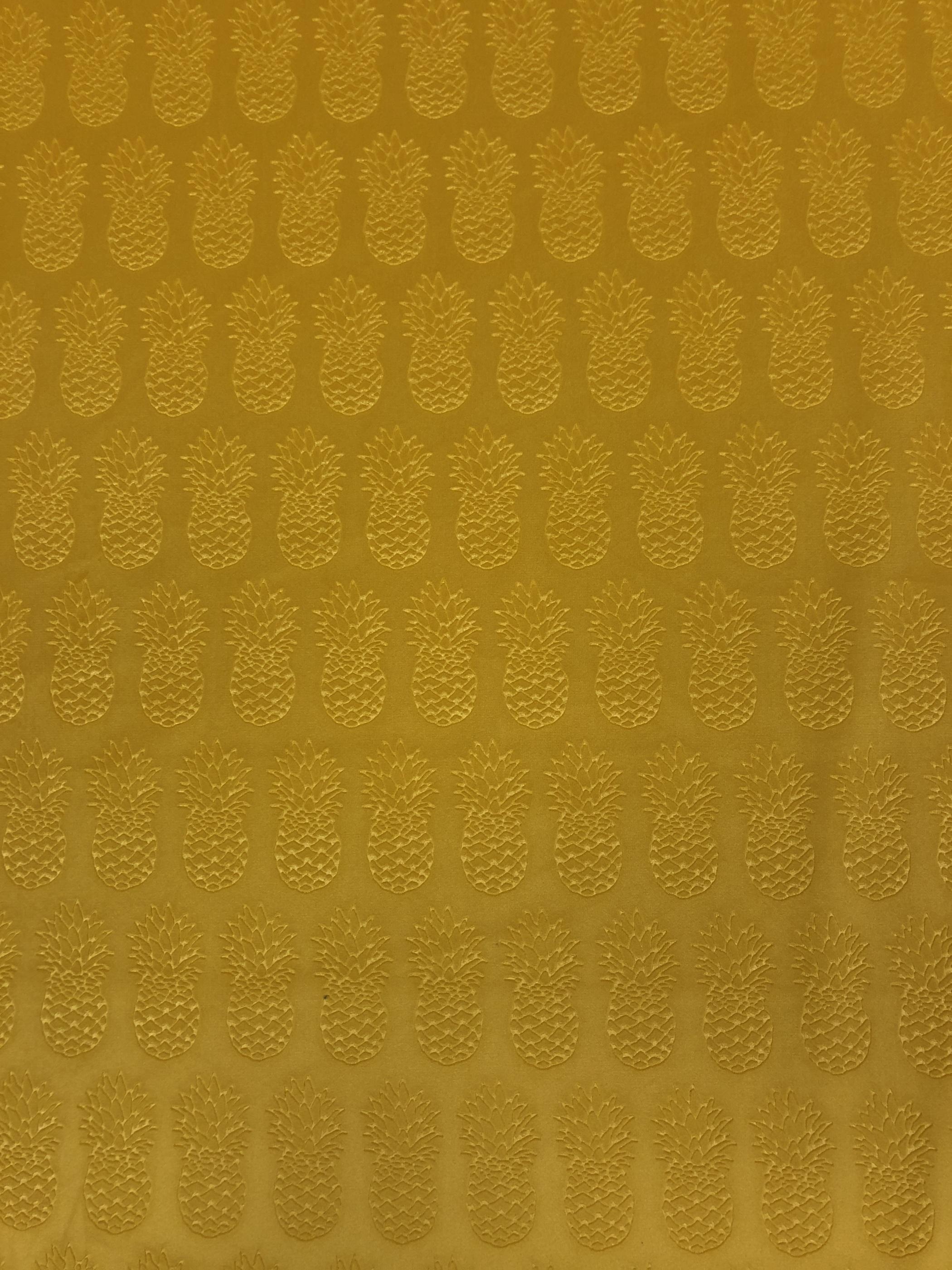 Ananas relief mönster gul sammet polyester metervara möbeltyg hemtextil Tyglust laholm