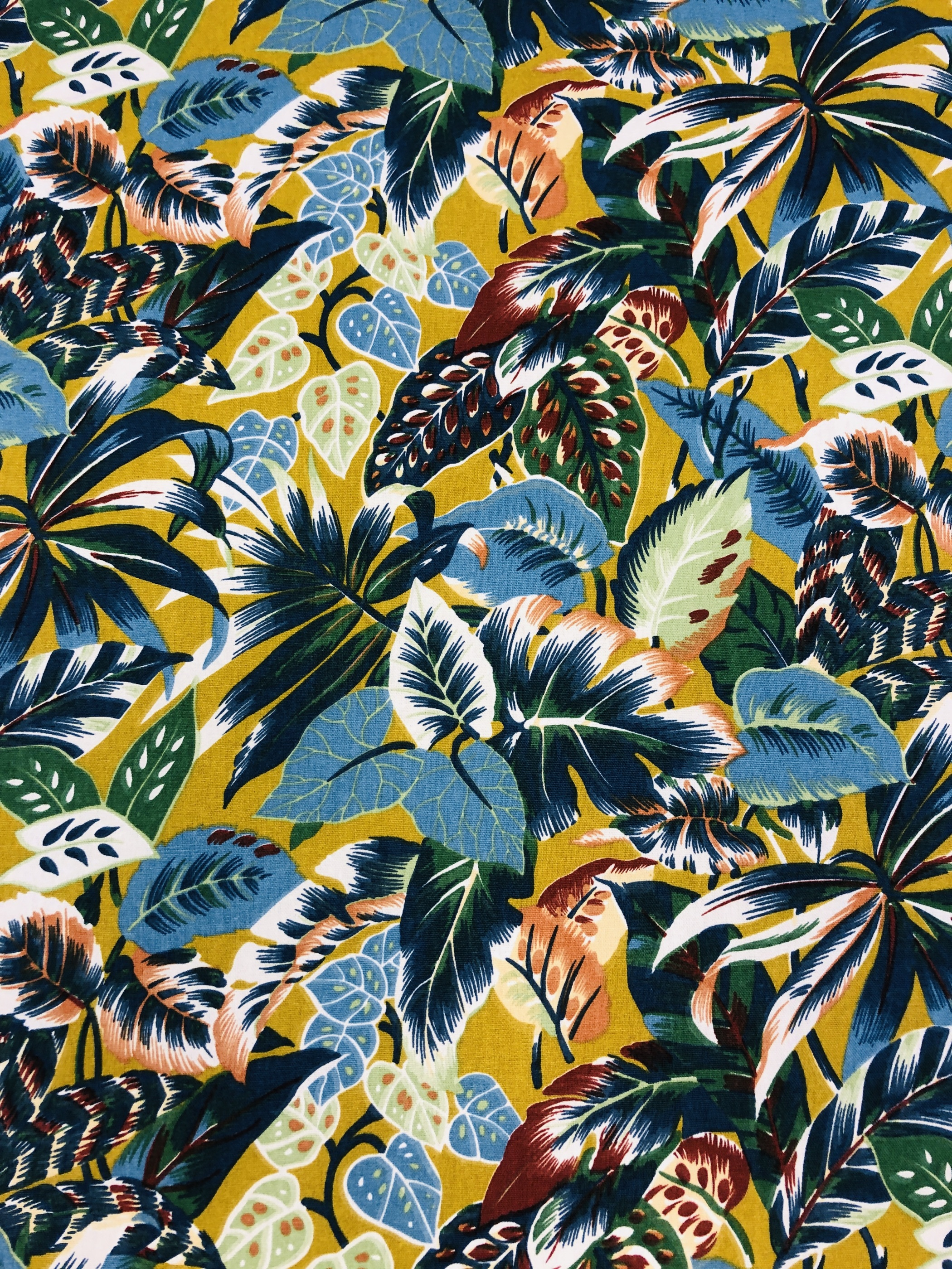djungelblad höst metervara bomullstyg Tyglust hemtextil Laholm grön gul blå