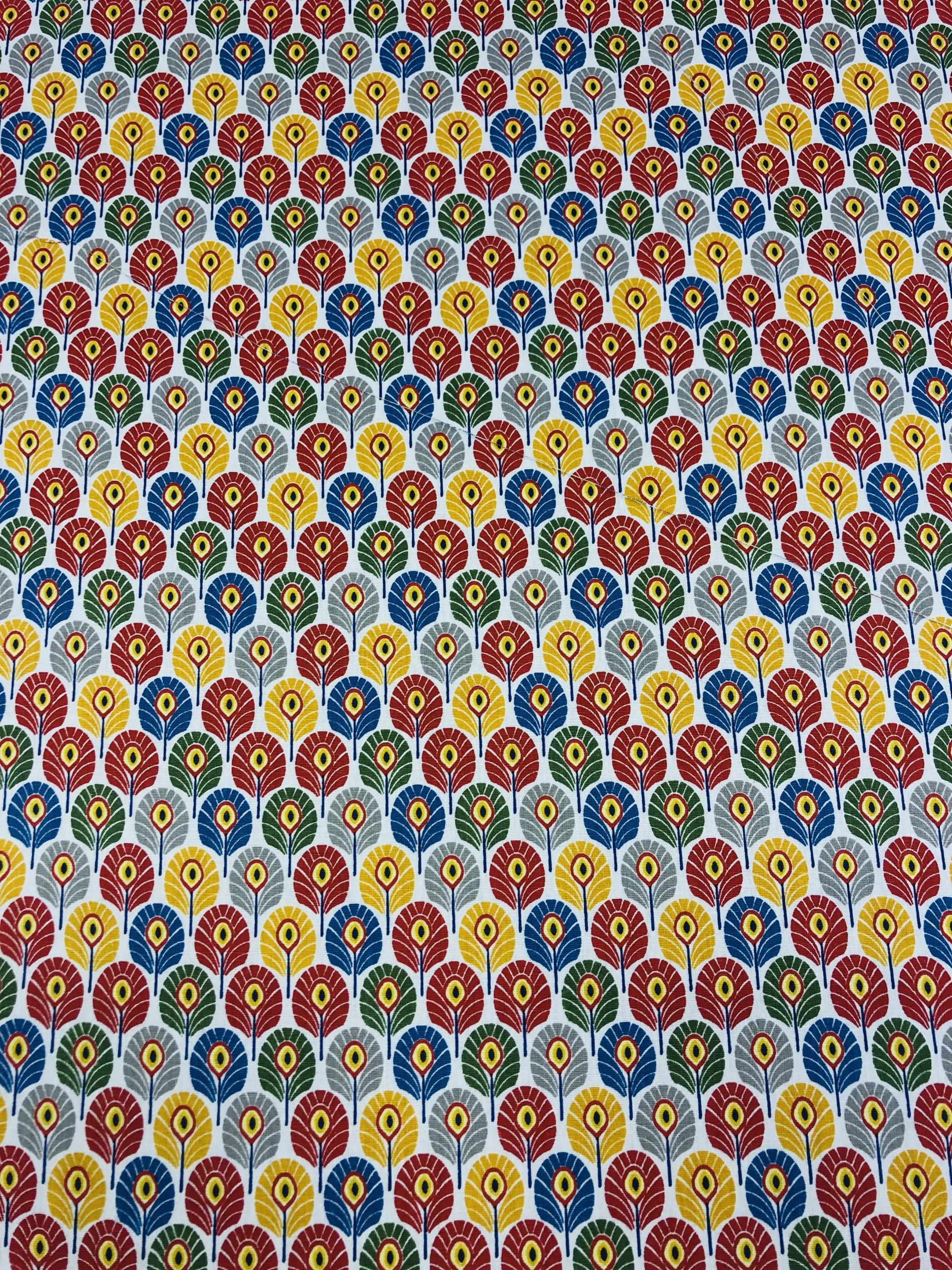 Multifärg röd grön blå gul bomull hemtextil modetyg metervara Tyglust laholm