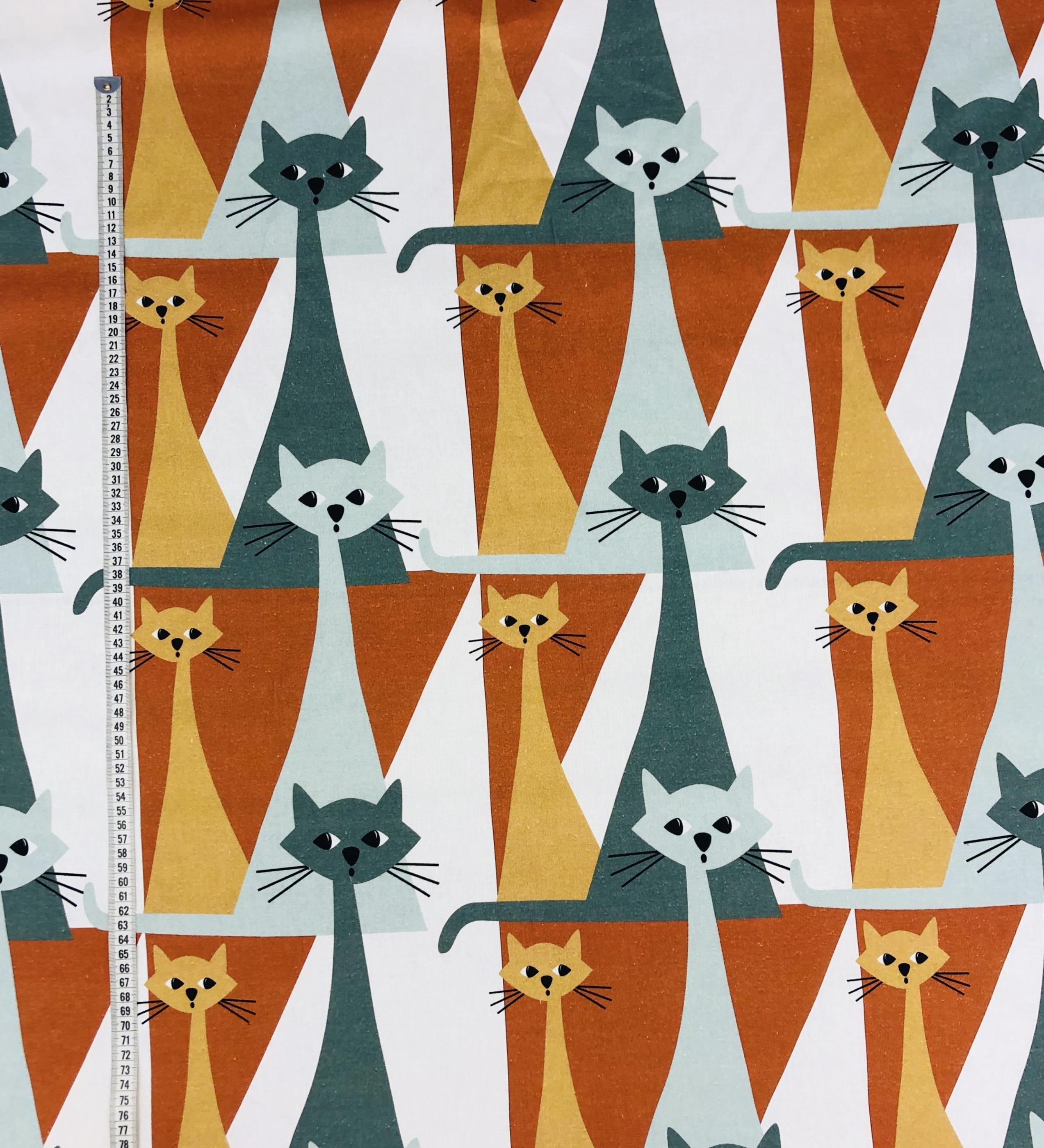 Bomullstyg metervara katter orange blå grön Tyglust Laholm kitty