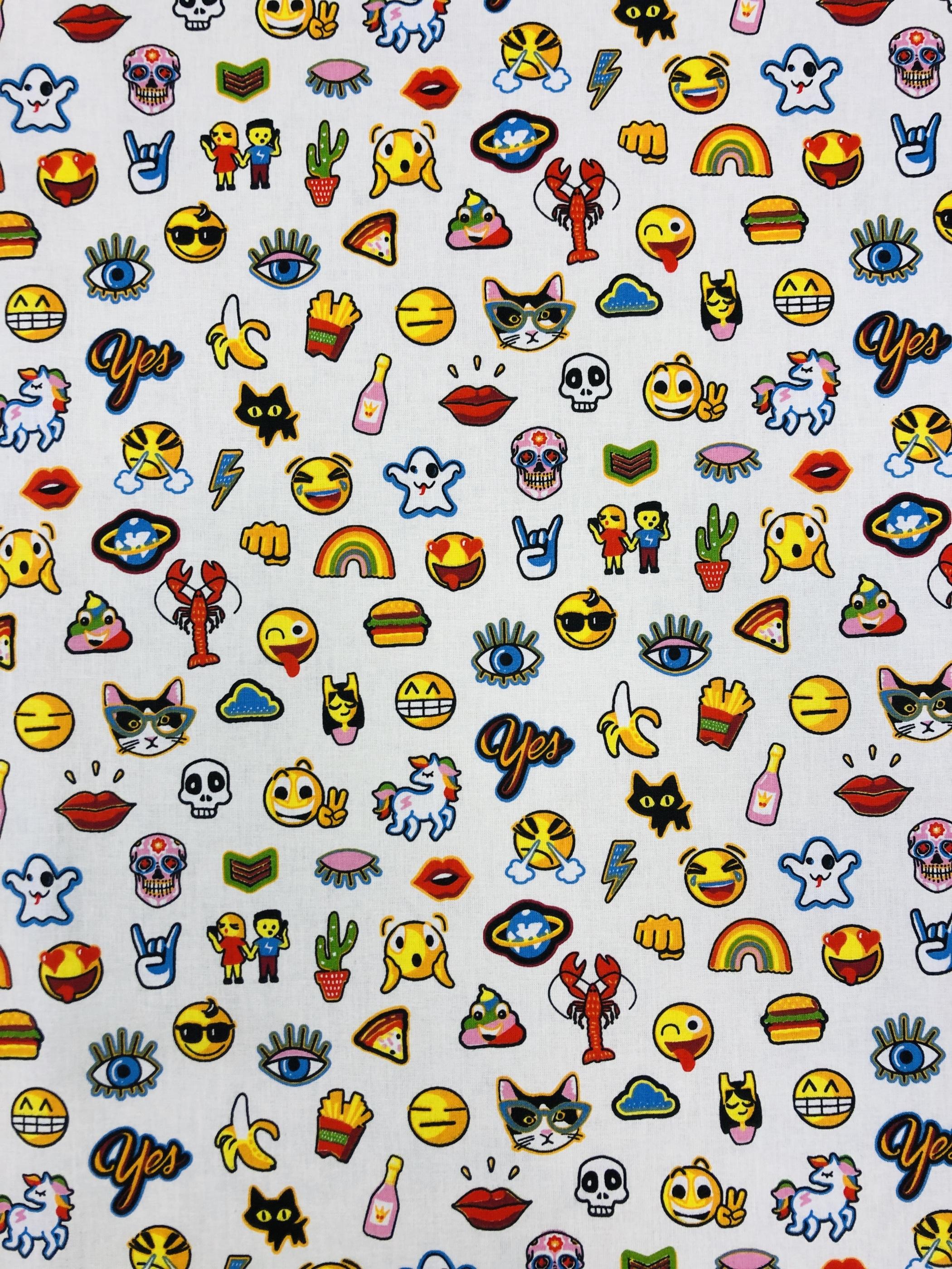 Emoji vit bomullstyg metervara modetyg hemtextil Tyglust Laholm