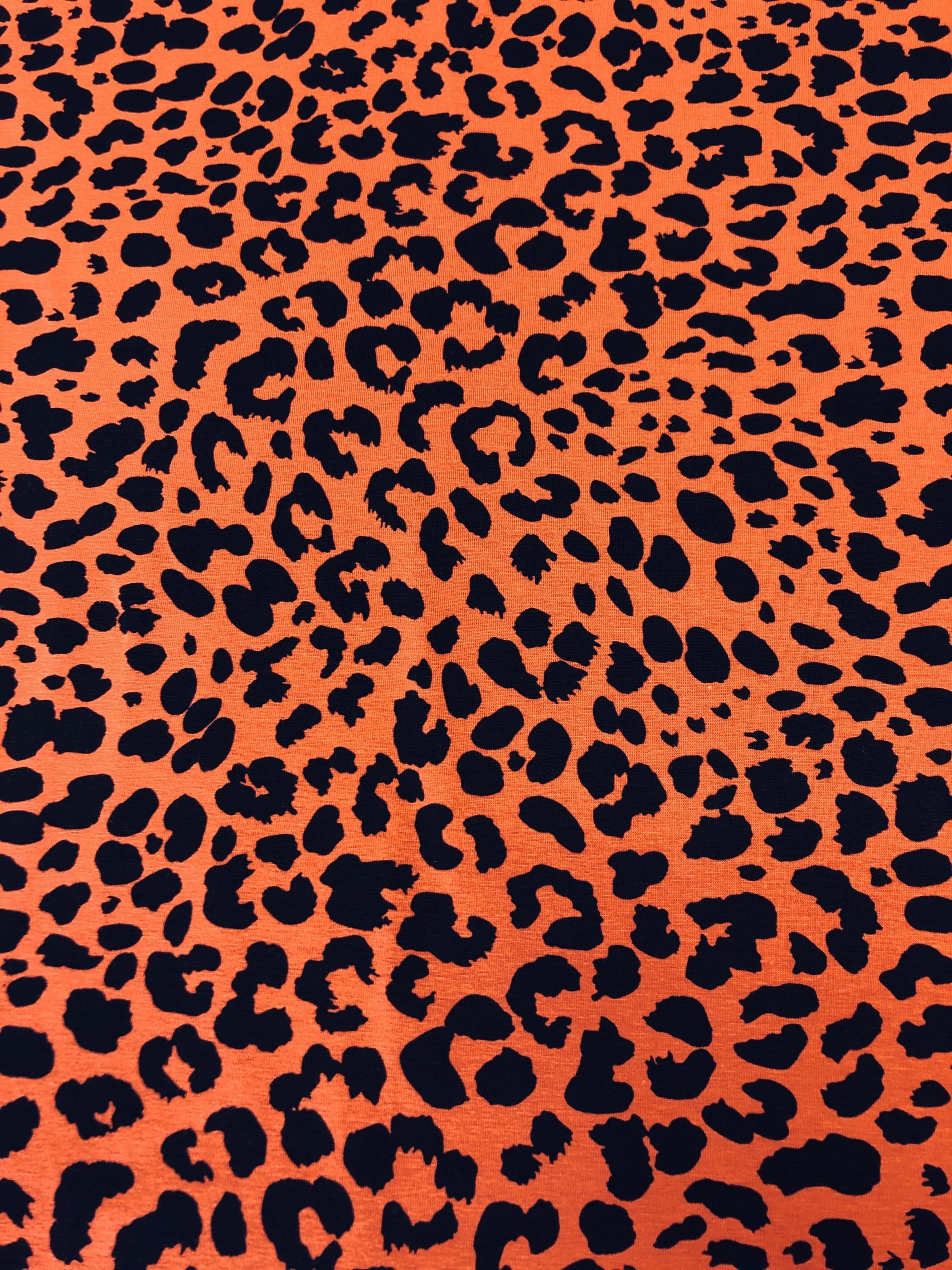 Leo leopard röd trikå metervara Tyglust bomull laholm