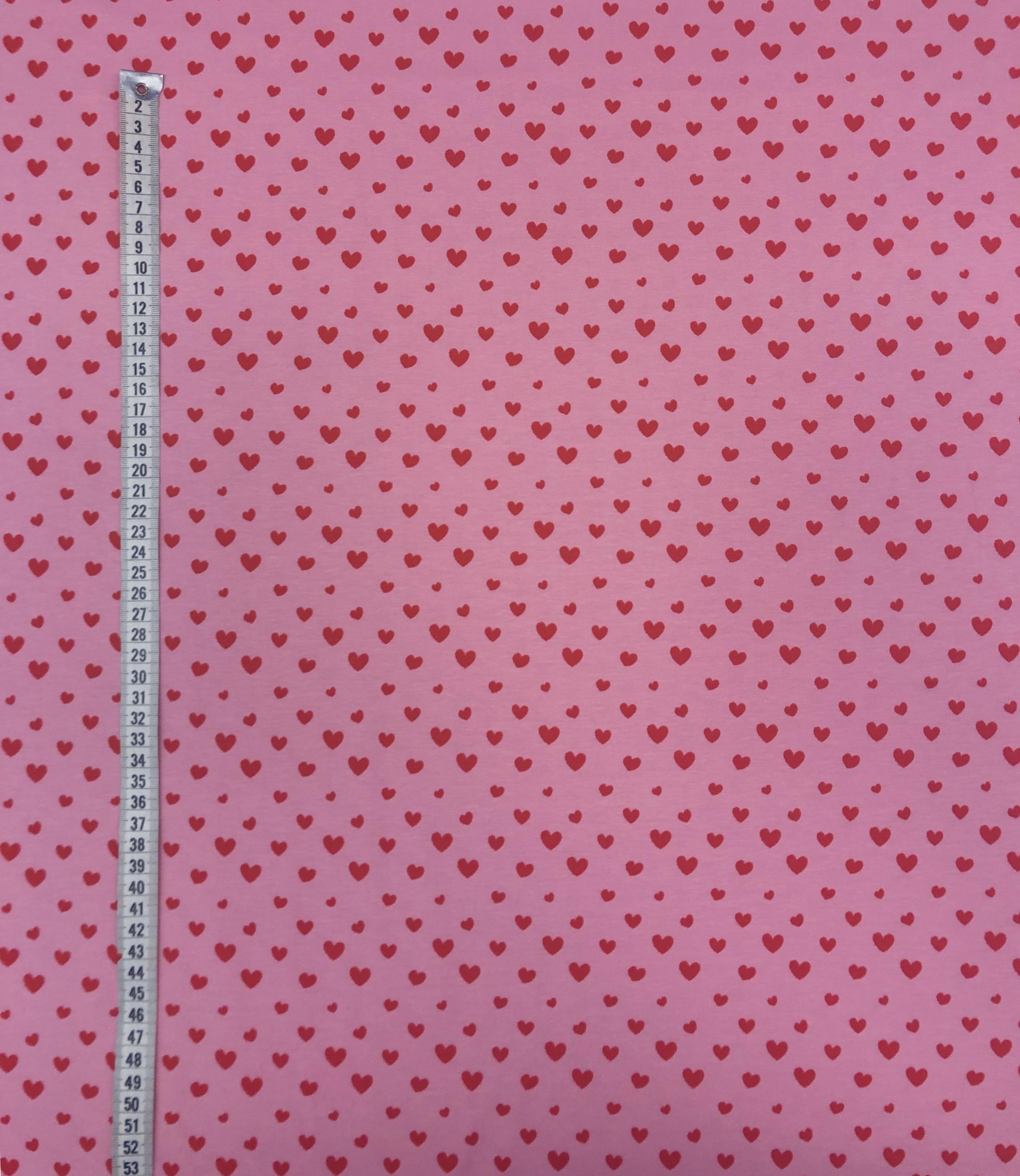 Bomullstrikå metervara rosa hjärtan hjärtegull gulligt Tyglust laholm
