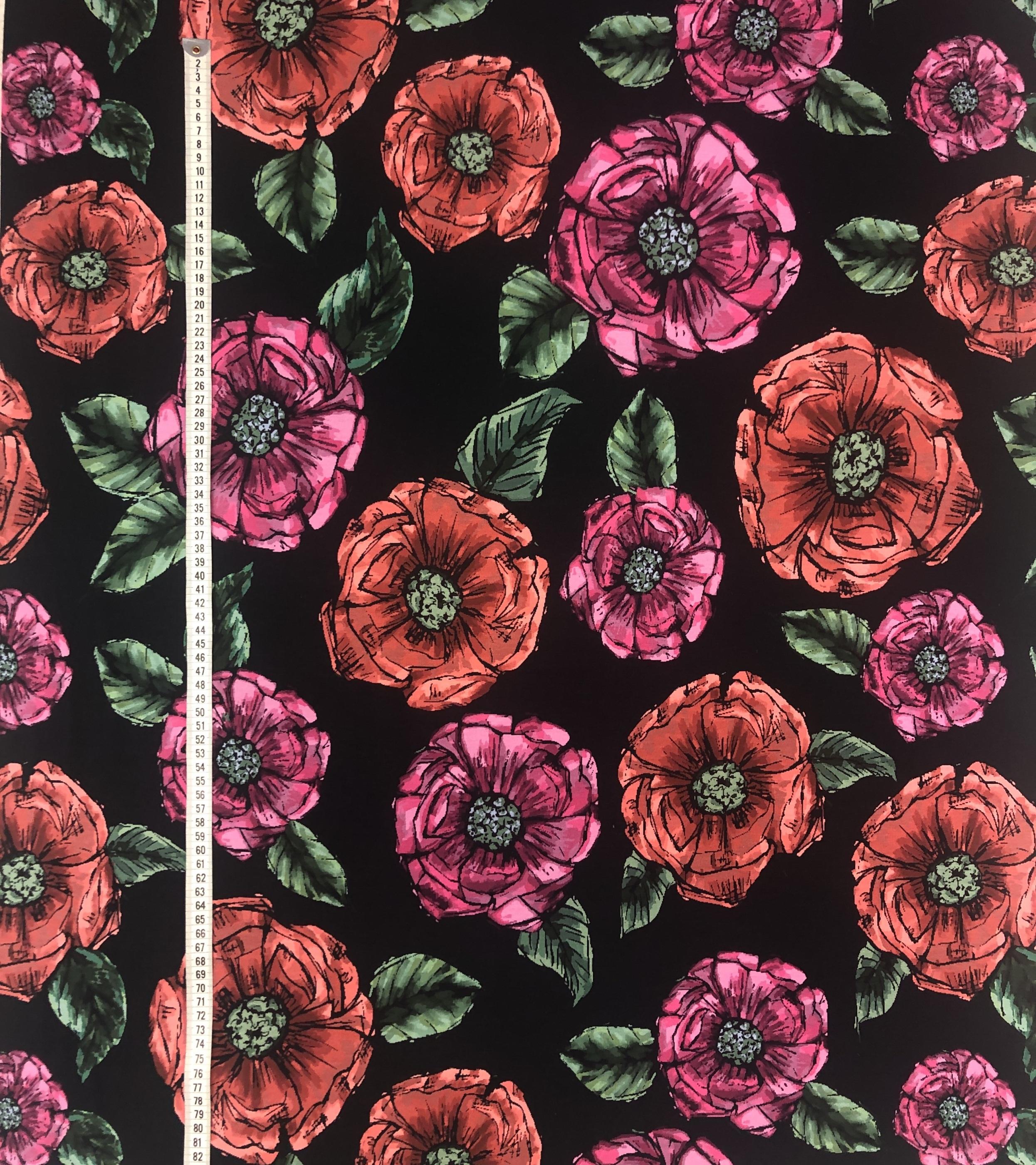 Milano trikå metervara modetyg blommor rosa röd svart Tyglust Laholm