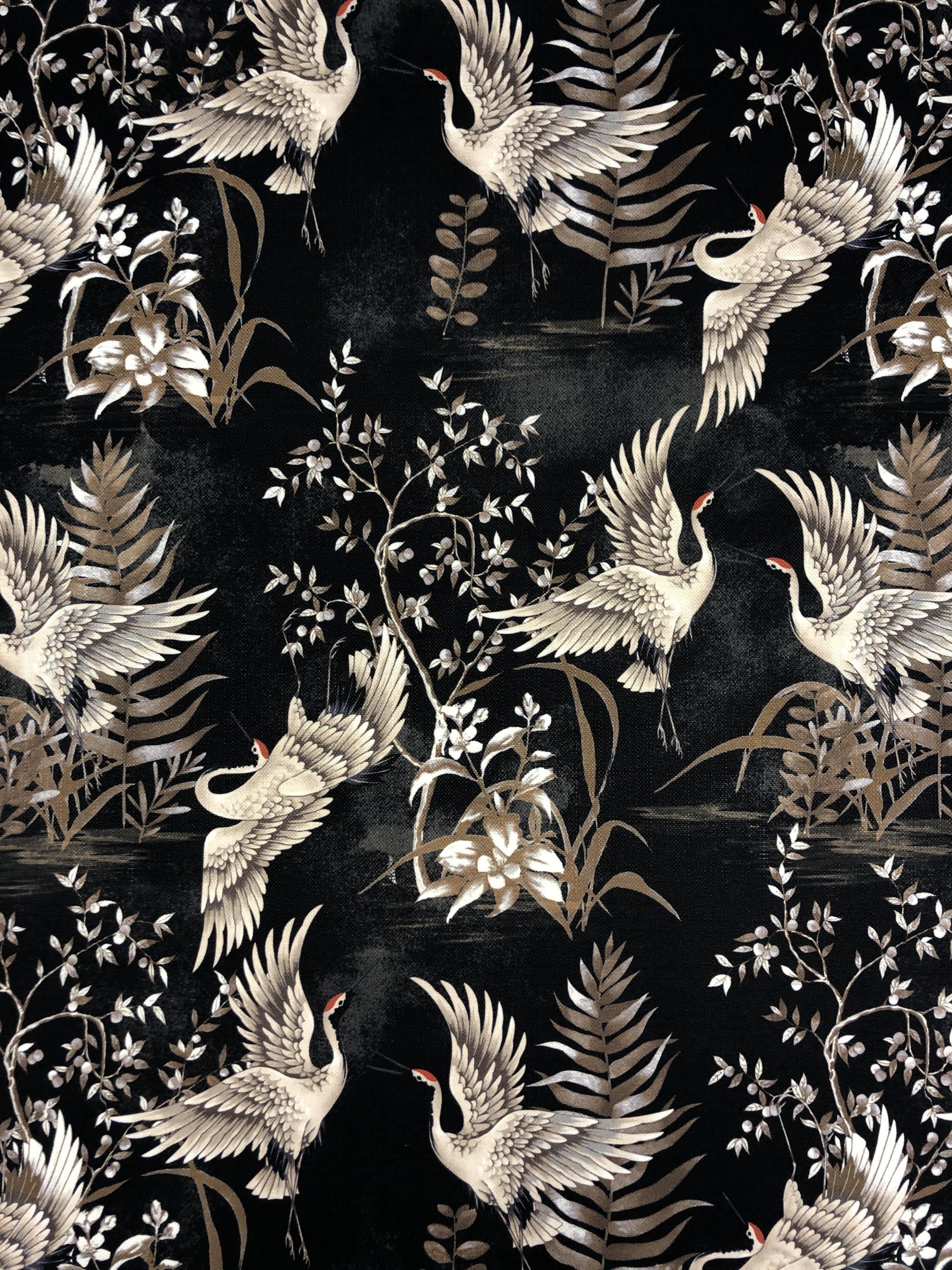 tranor svart mörk hemtextil blommor japanskt tyglust Laholm metervara