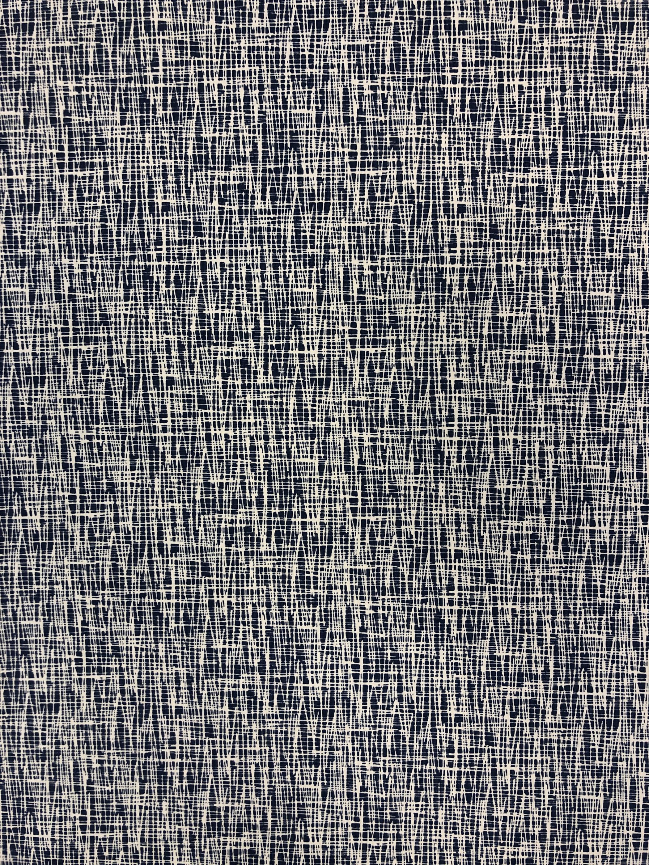 Modetyg trikå bomull skiss blå vit metervara Laholm Tyglust