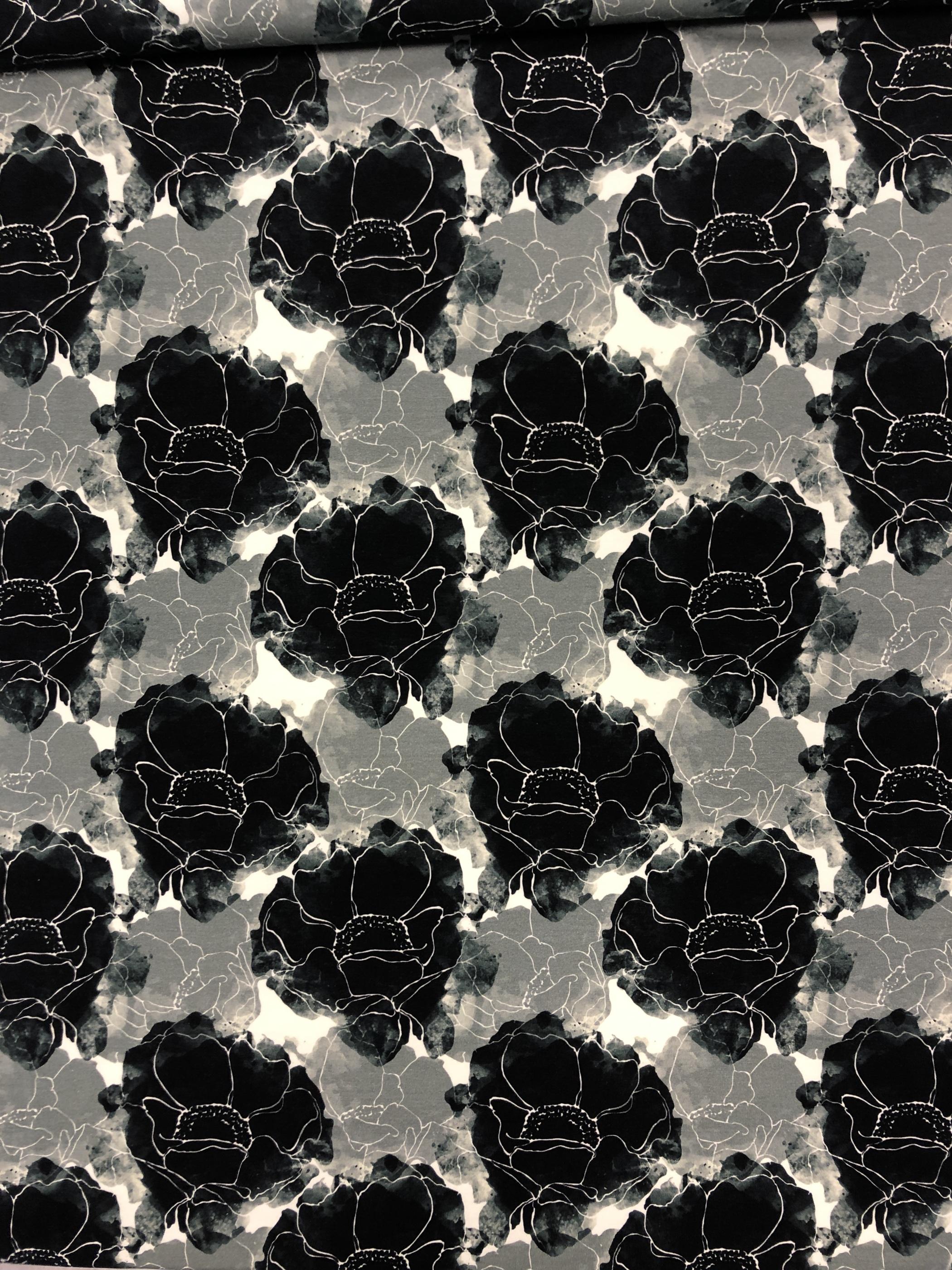 Trikå svart skugga ros grön metervara Tyglust laholm