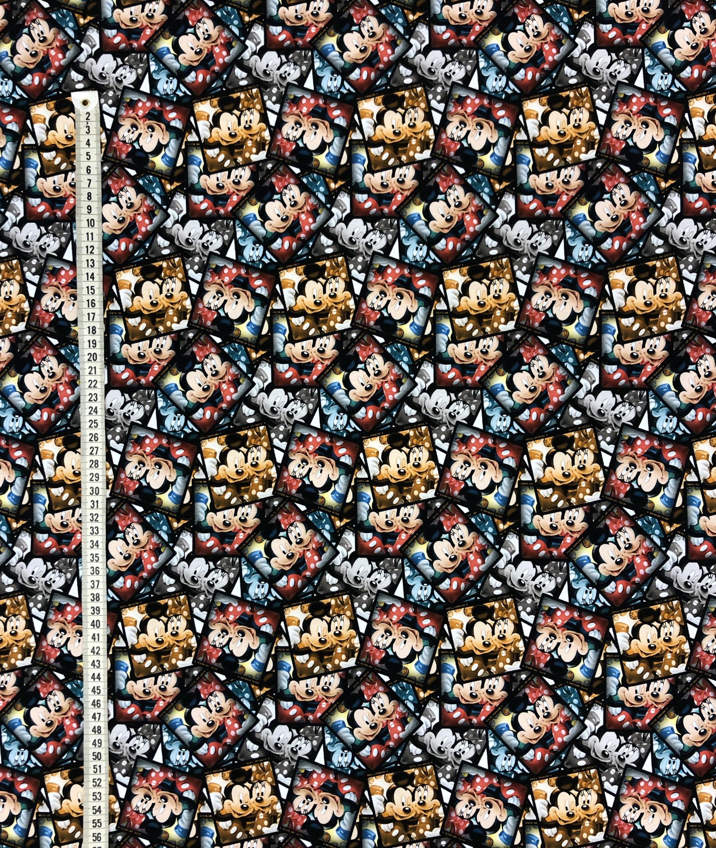 Musse Mimmi Disney polaroid foto trikå barntrikå bomullstrikå metervara Tyglust laholm