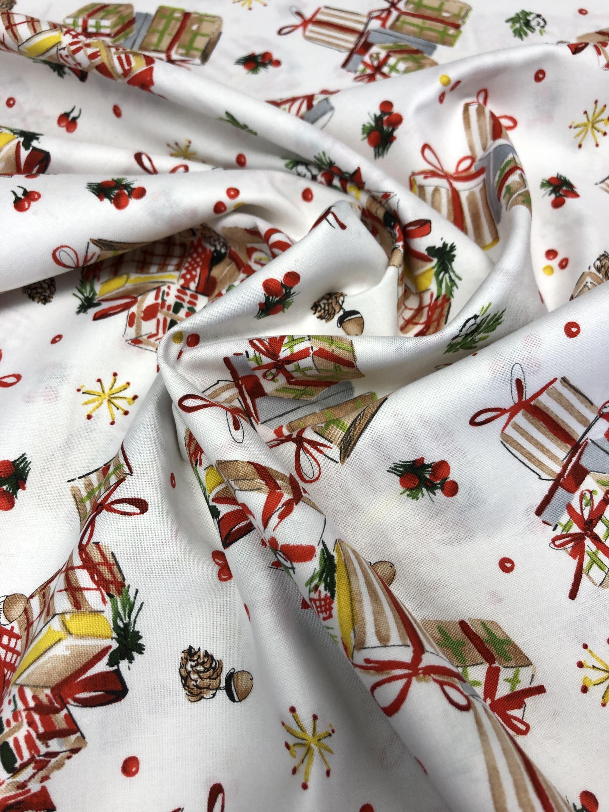 Paket jul julklappar bomullstyg bomull Christmas tyglust laholm