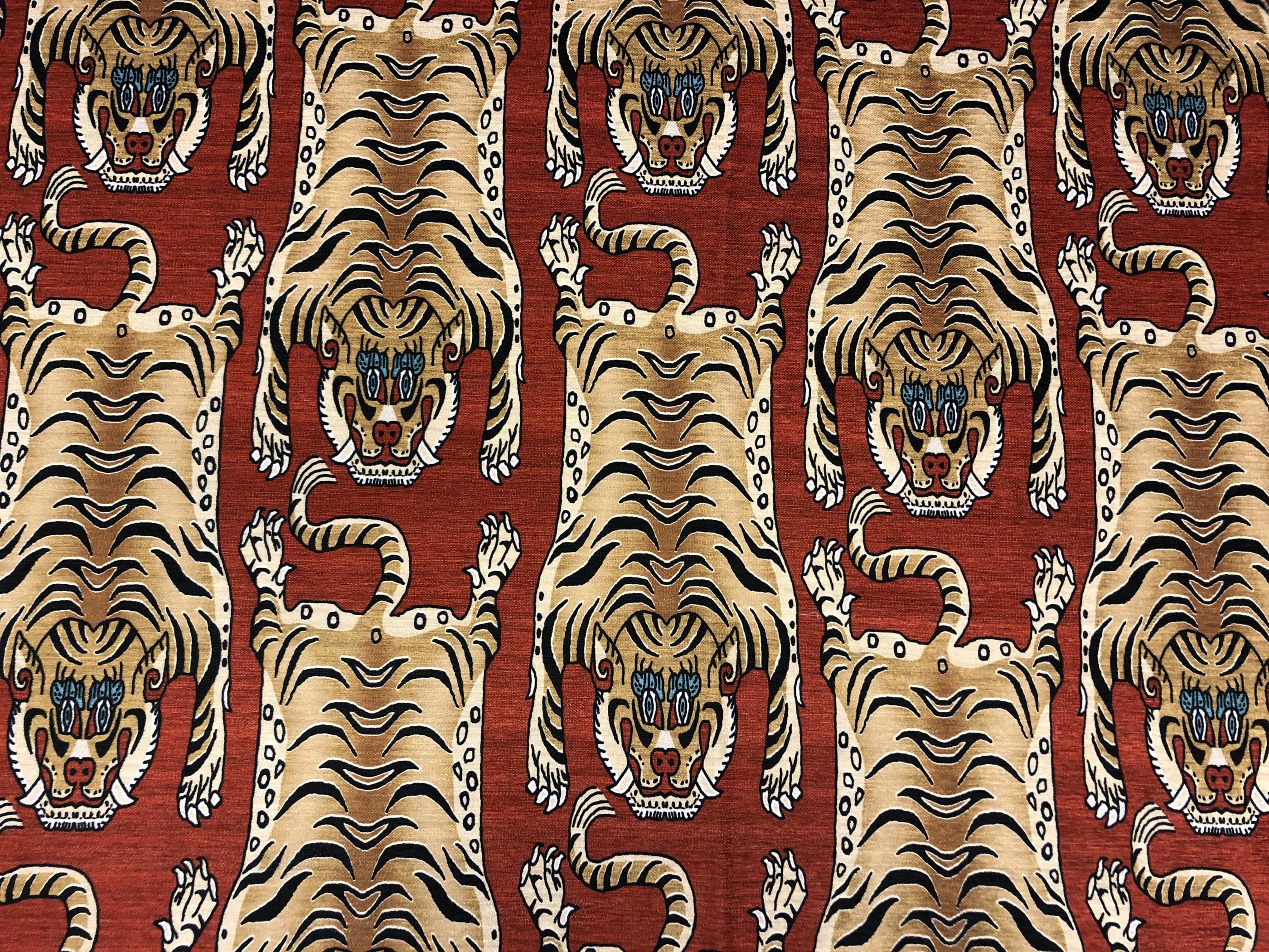 orientalisk tiger röd hemtextil metervara polyester tyglust laholm