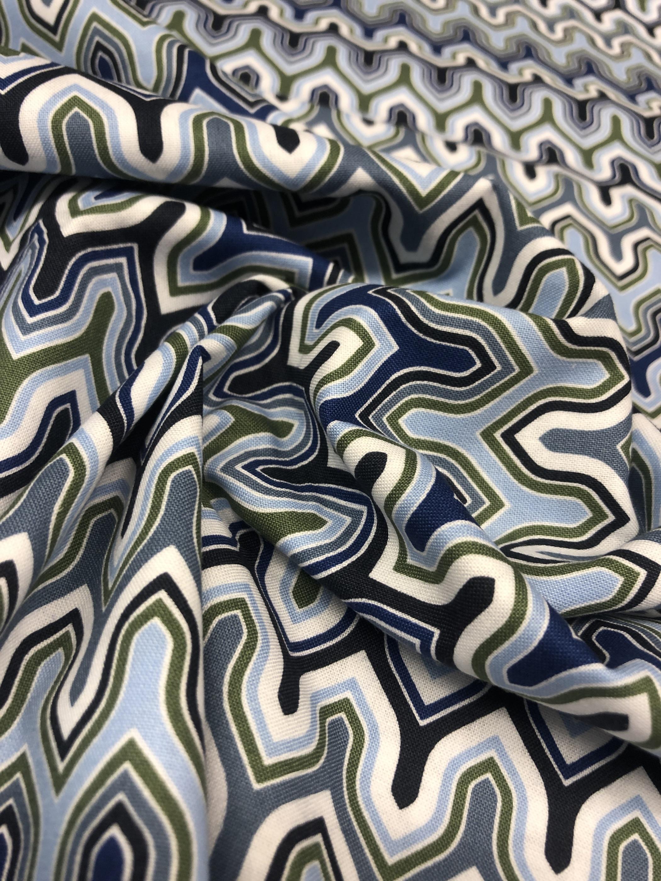 marrakesh blå bomullstyg metervara modetyg tyglust laholm