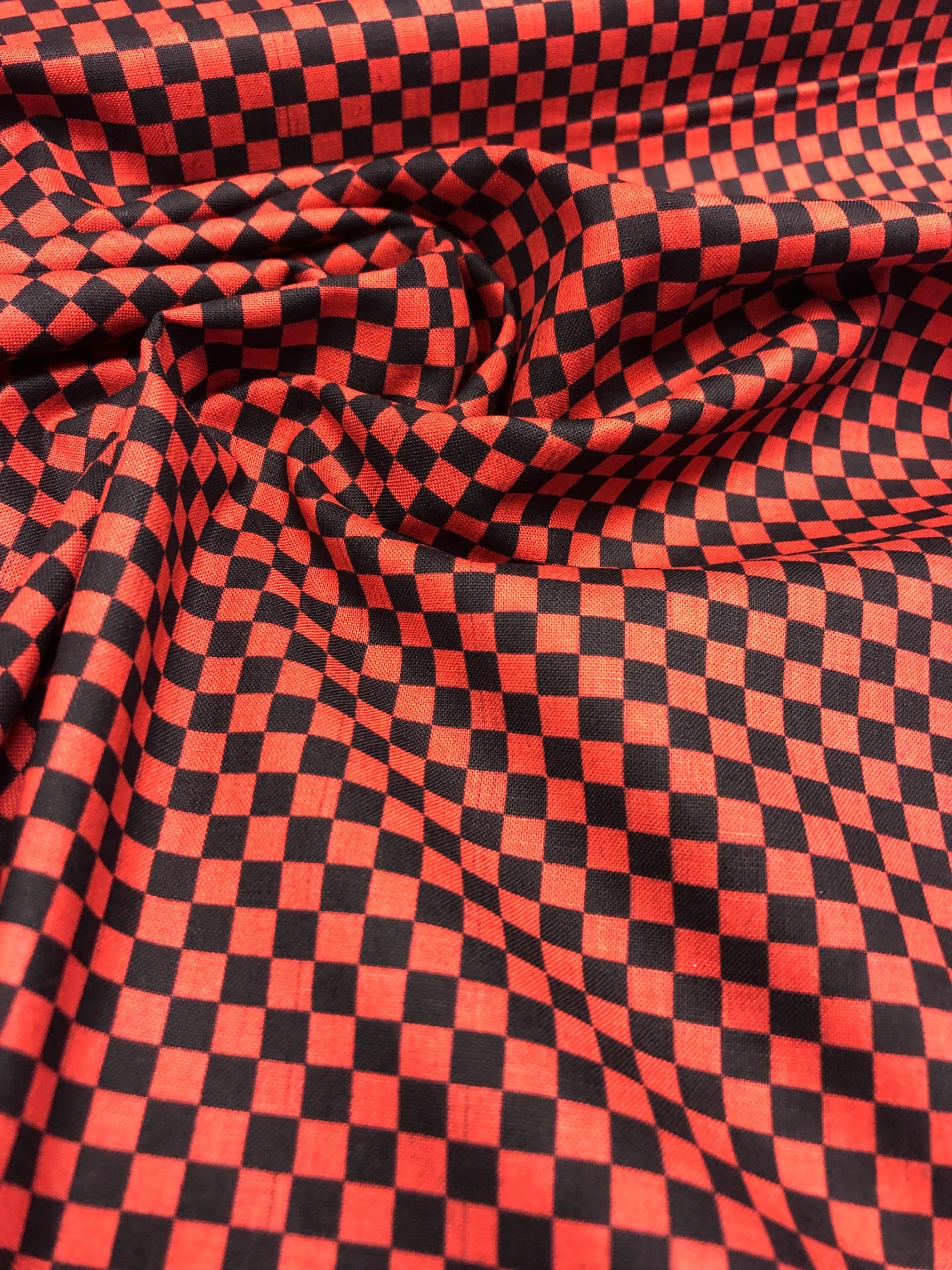 rut rutig modetyg bomullsväv bomull röd svart metervara tyglust laholm