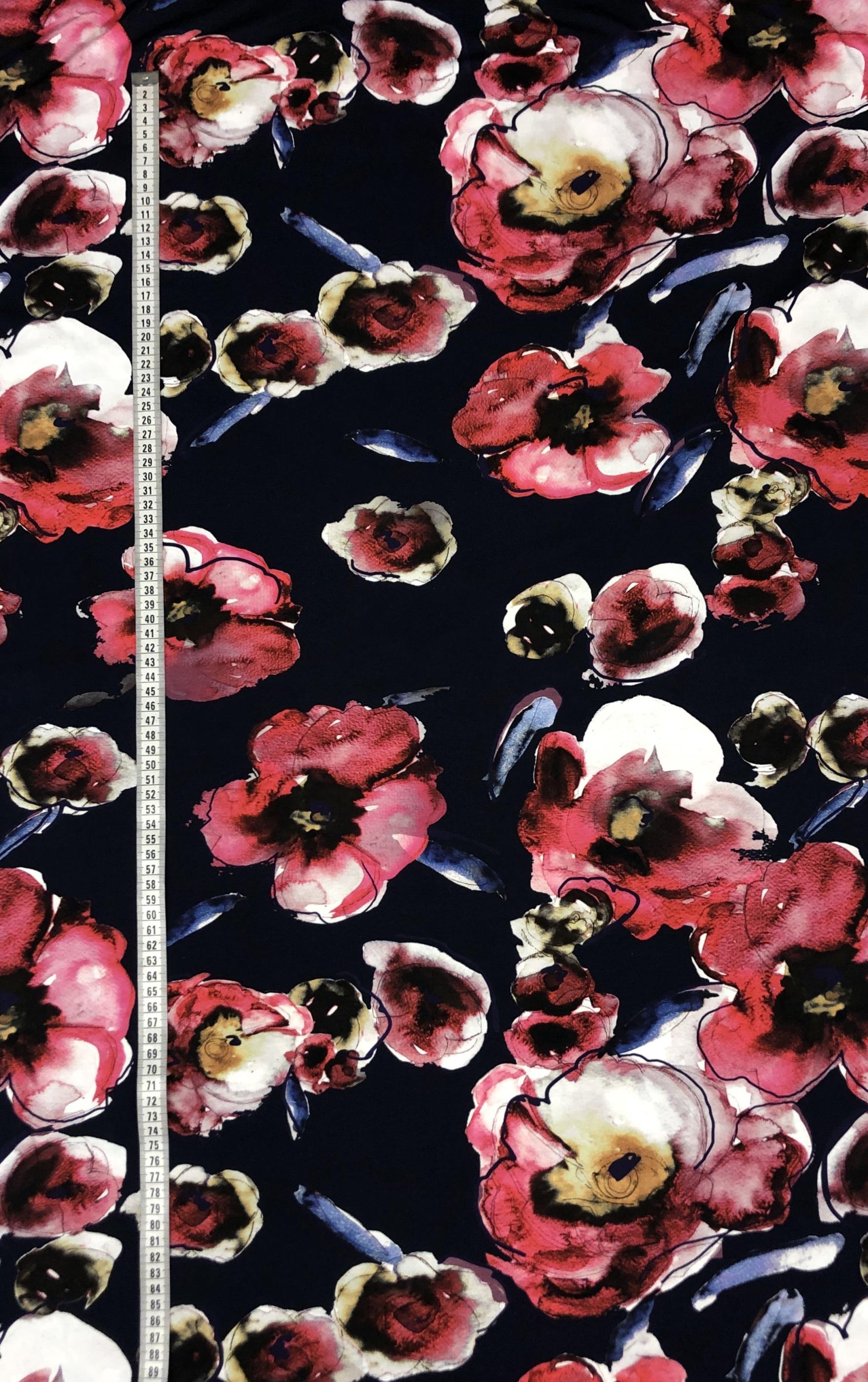 viktoria bomullstrikå storblommig blommigt rosa blå mörkblå metervara trikå tyglust laholm