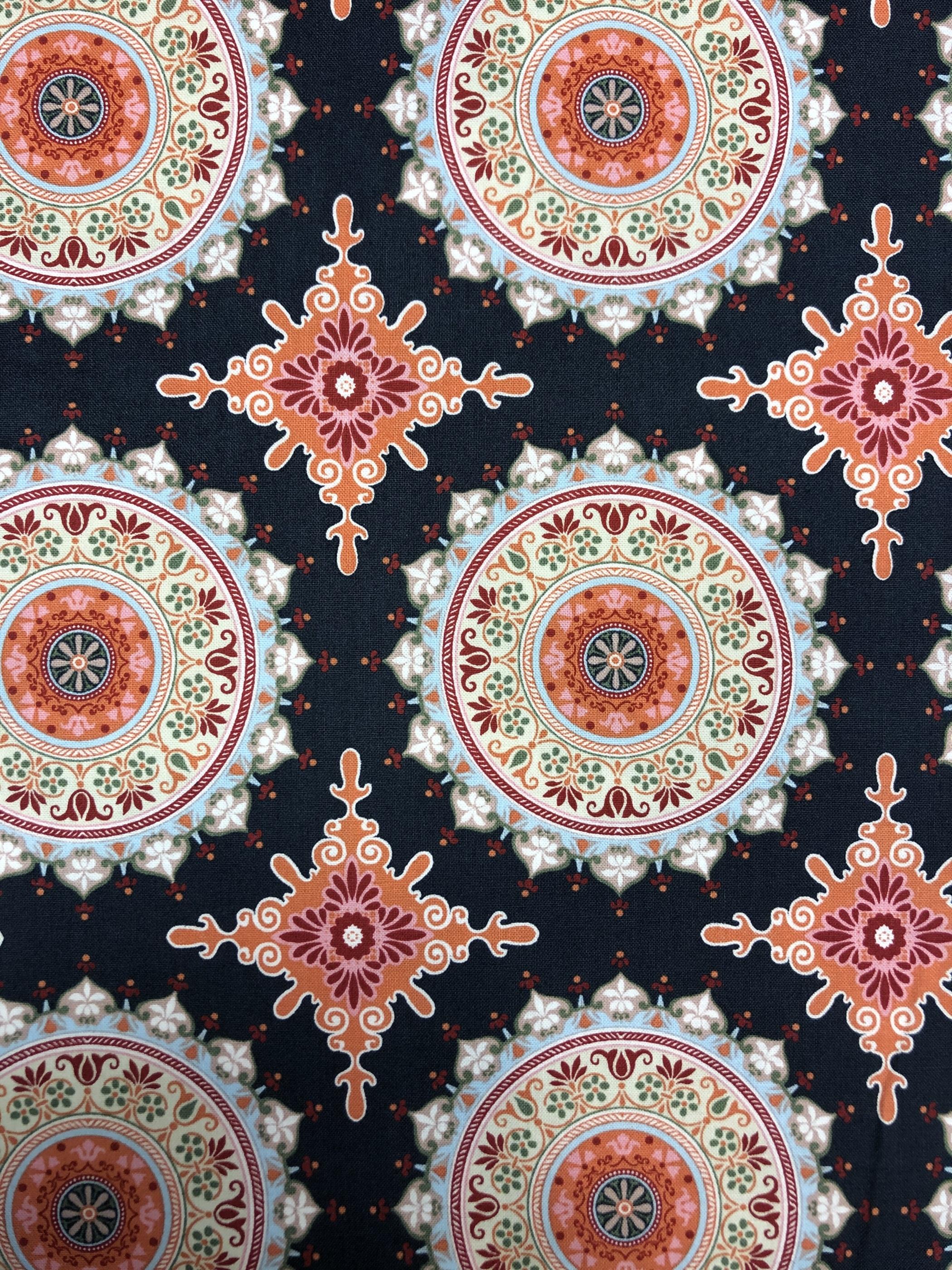 mandala bomullsväv modetyg rosa blå metervara laholm tyglust